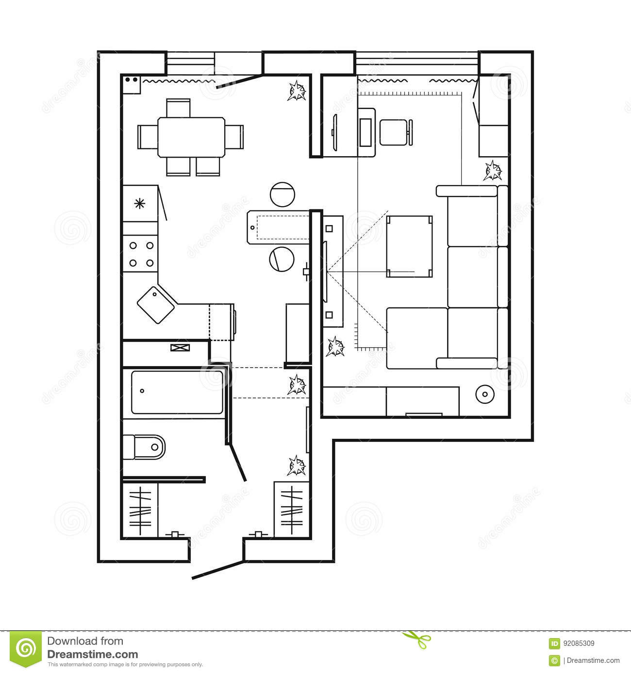 Apartment plan witch furniture thin line interior design for Apartment design vector