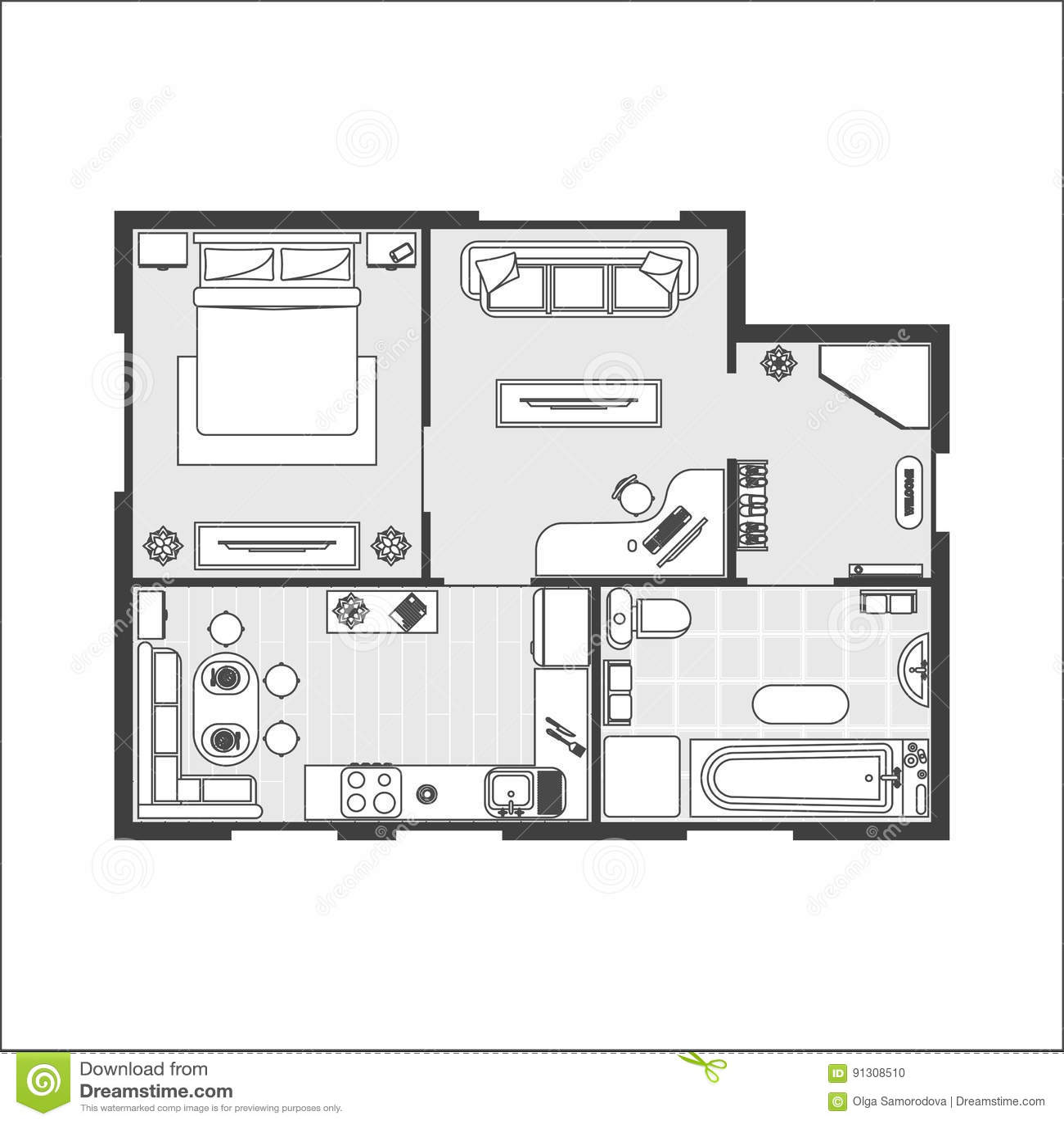 floor plan furniture vector. Download Apartment Plan Witch Furniture. Vector Stock - Illustration Of Home, Floor: Floor Furniture N