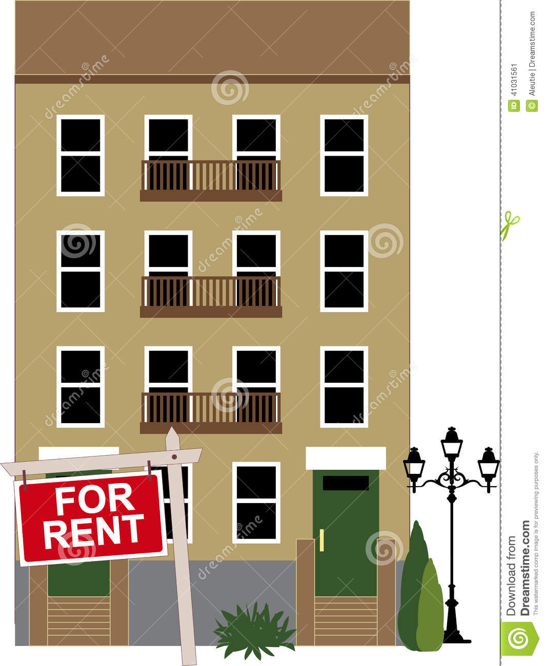 Apartment Buildings For Rent: Apartment For Rent Stock Vector
