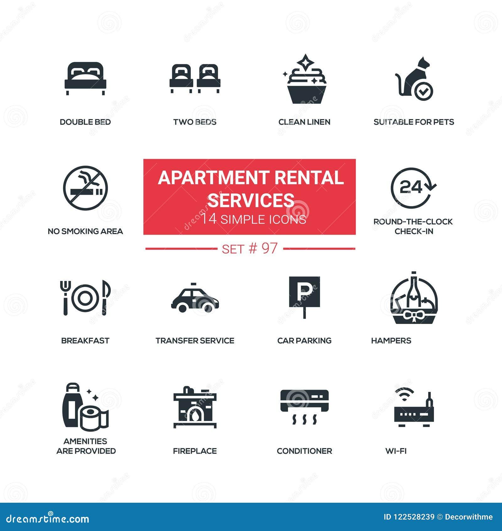 Apartment Rental Help: Flat Design Style Icons Set