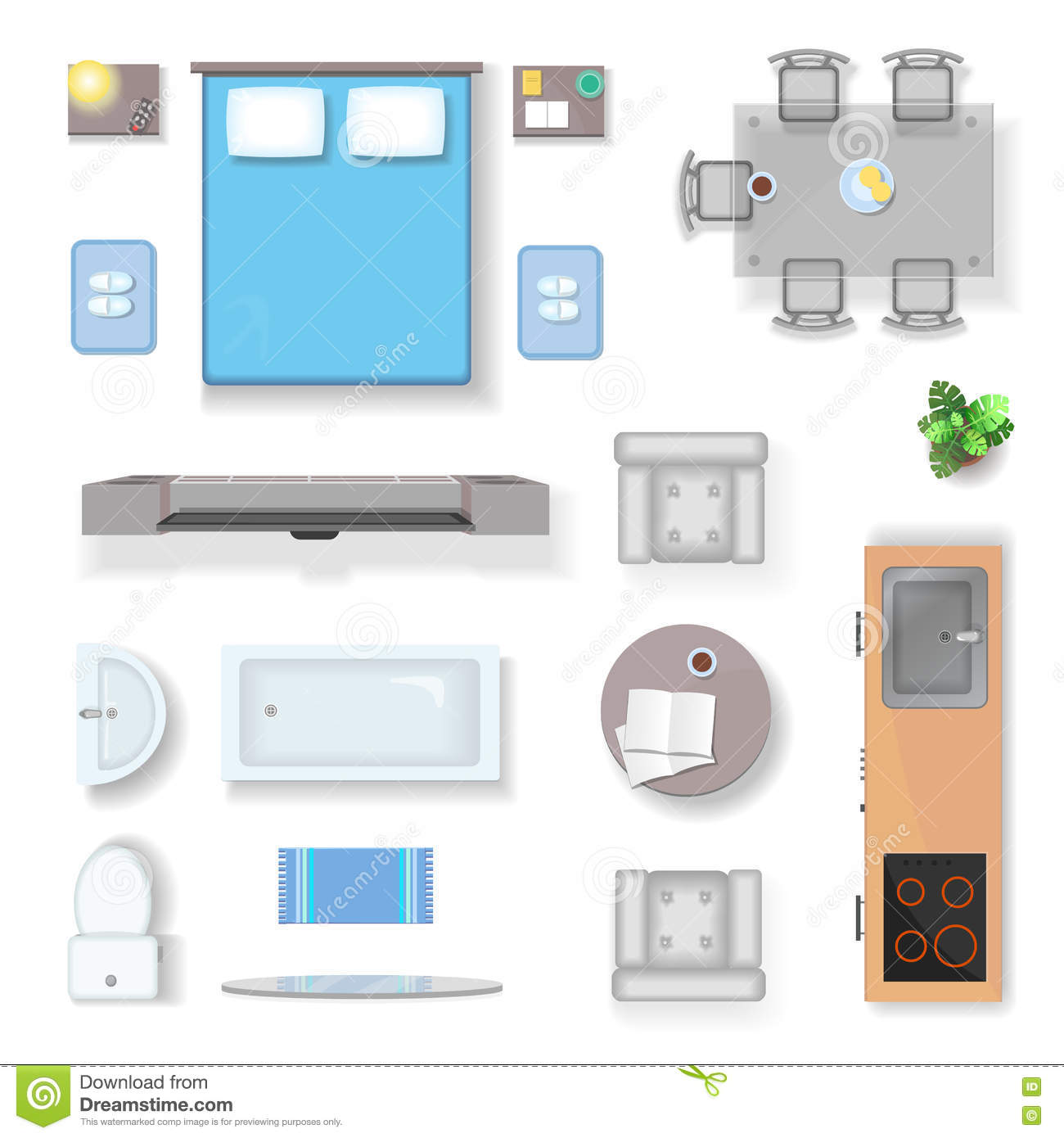 Apartment Top View Living Room Bedroom And Bathroom Furniture Design Elements Realistic Vector