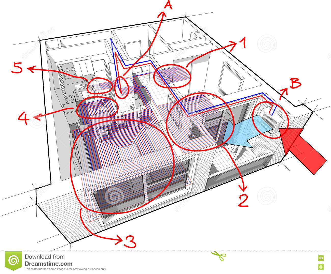 Apartment With Underfloor Heating And Heat Pump And Hand ... on heating service, heating control, heating tool,
