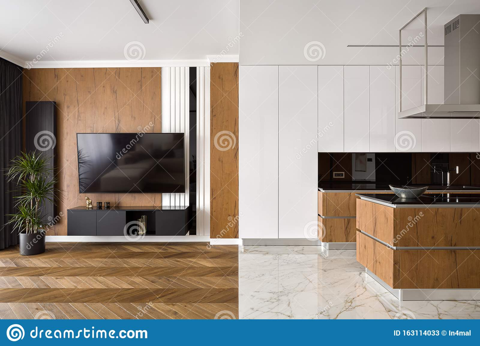 Apartment With Wooden And Marble Floor Stock Image Image Of Decoration Kitchen 163114033