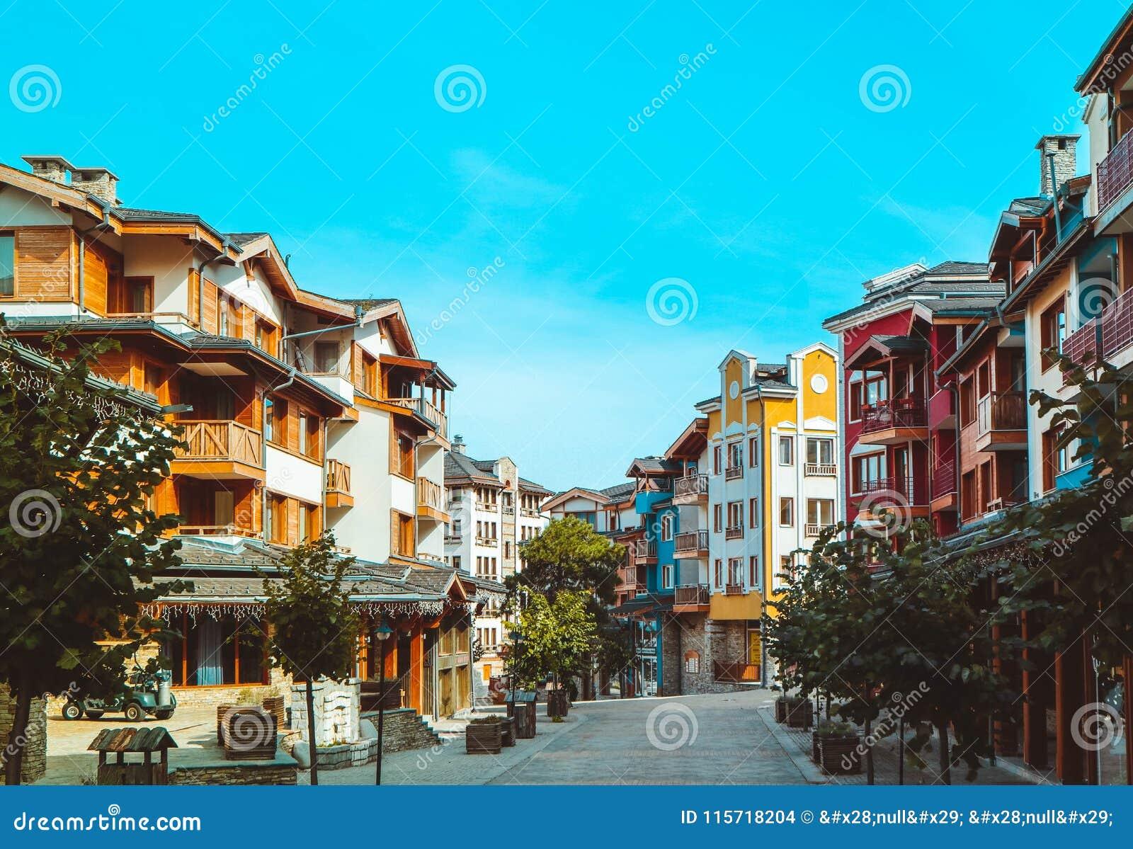 Apartments In Balkans Mountains, Europe, Bulgaria. Luxury Houses At The  Pirin Golf Village, Summertime.