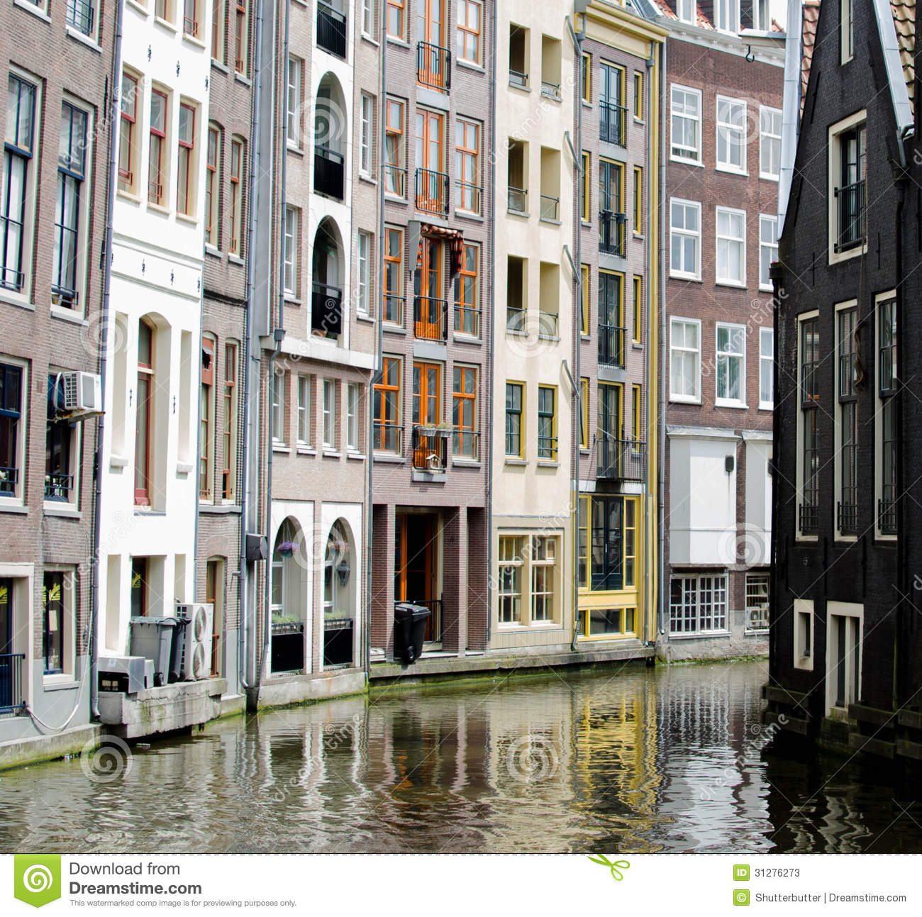 Holland Apartments: Apartments On The Water In Amsterdam Stock Image