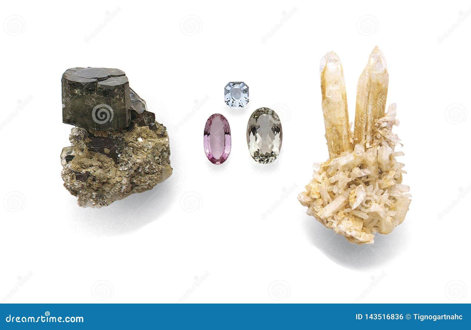 Apatite, Cut topazes, Danburite isolated on white background