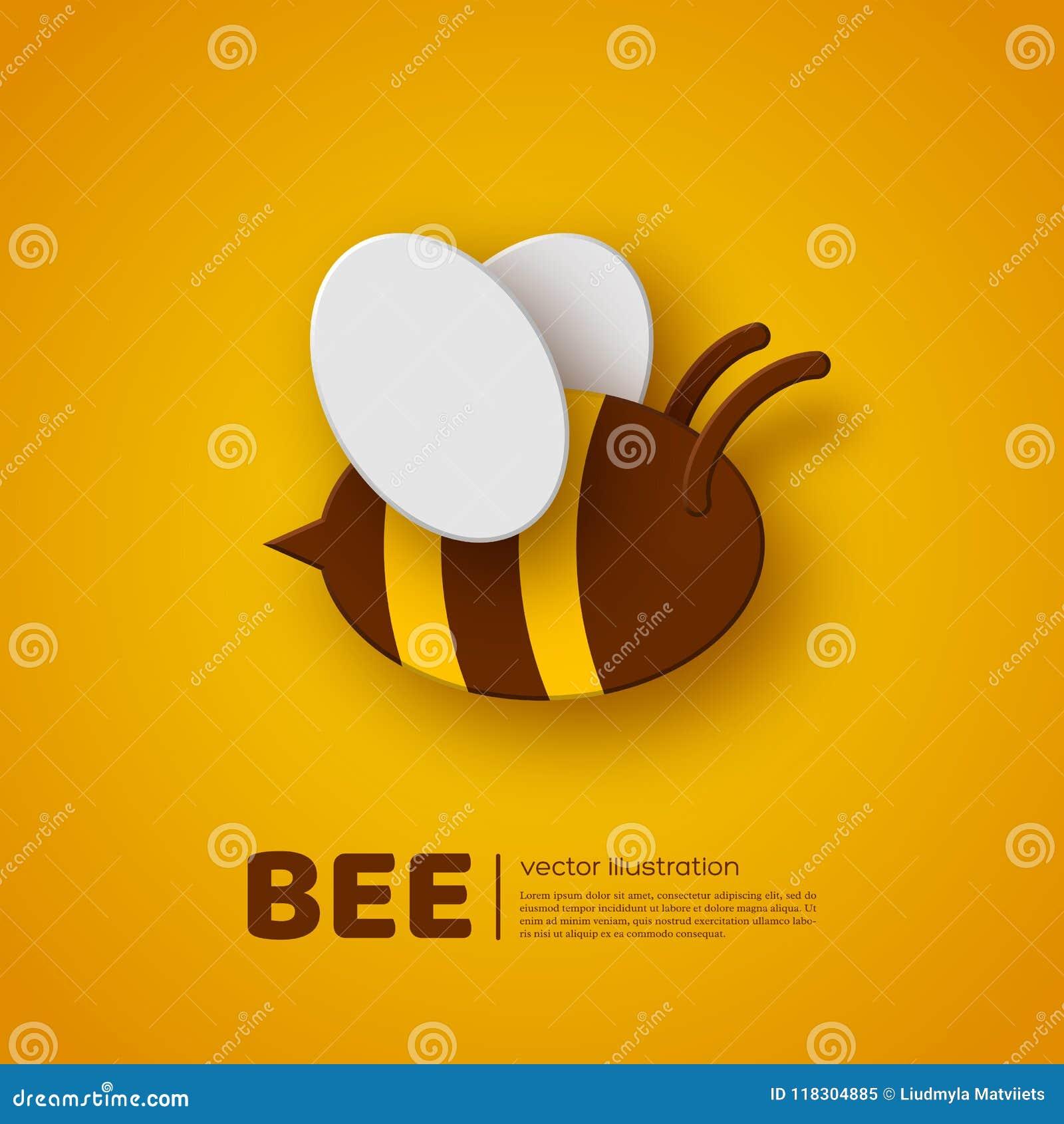 Ape di stile del taglio della carta Elemento per apicoltura e progettazione del miele Fondo giallo, illustrazione di vettore