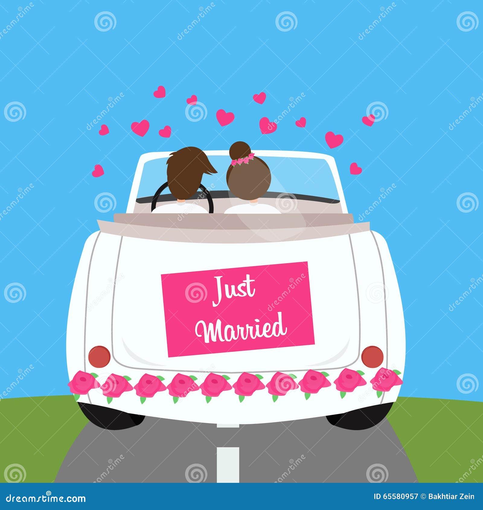 Apenas união casada da lua de mel dos pares do carro do casamento