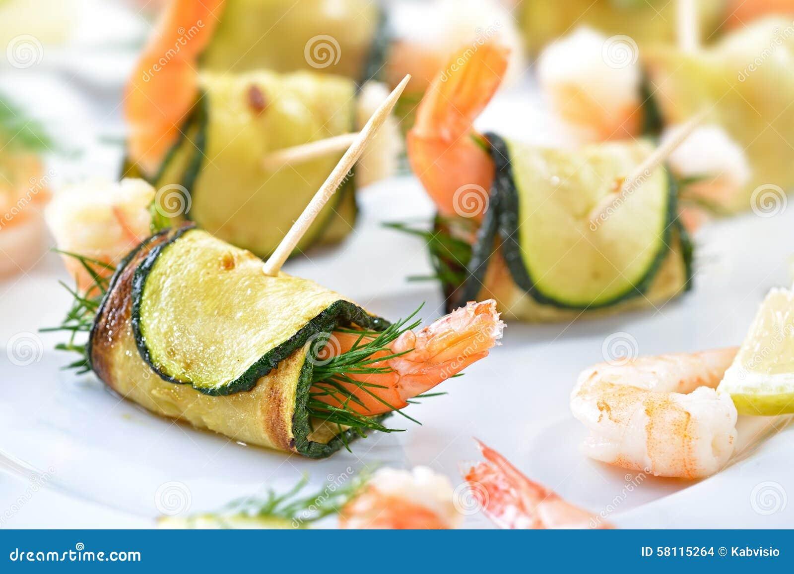Aperitivos do camarão