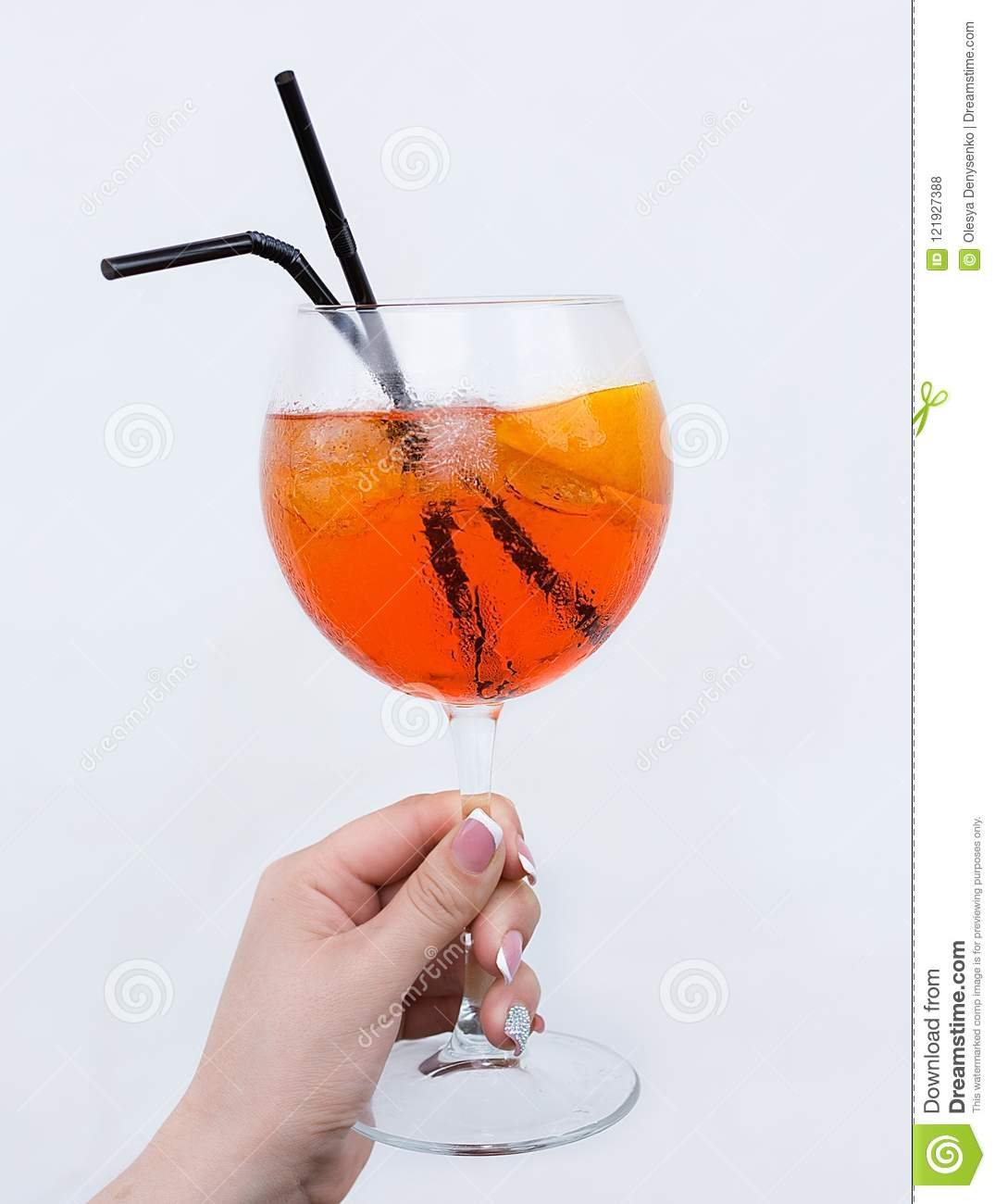 Aperol Spritz Cocktail At Woman Hand Stock Photo
