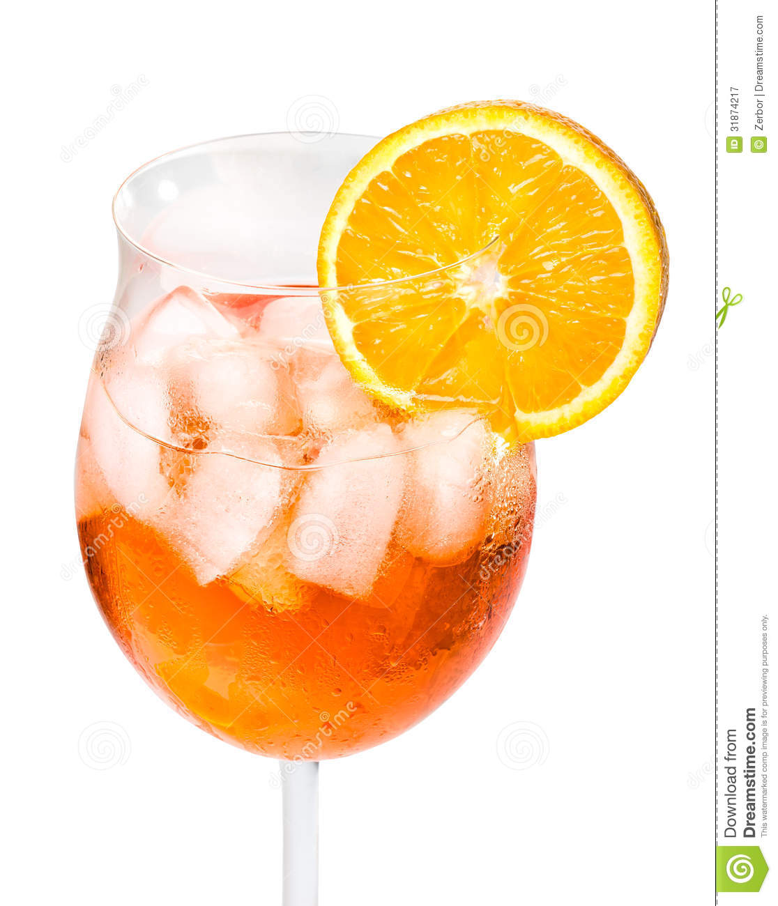 Aperol Spritz In A Wine Glass Decorated With An Orange