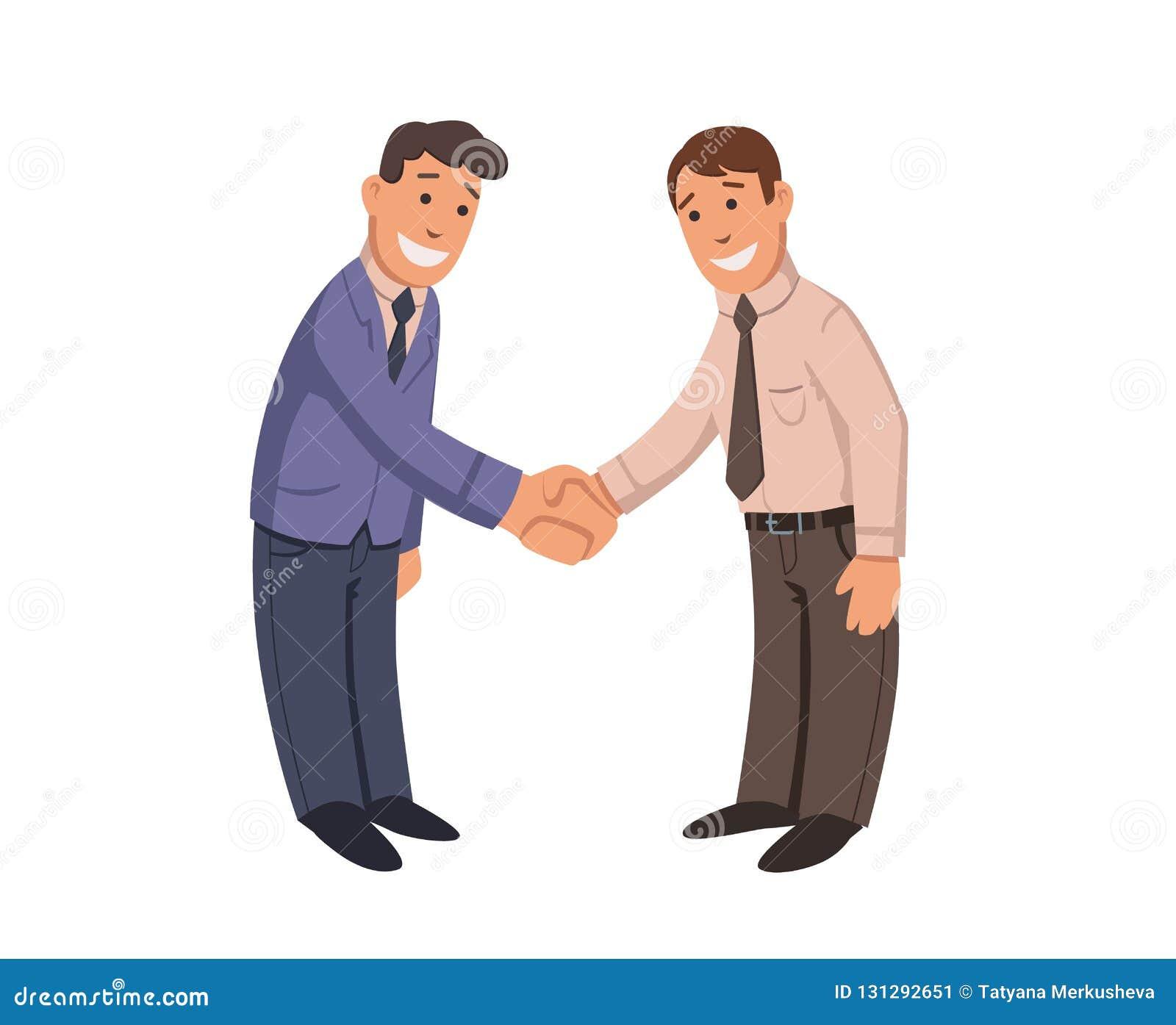 Aperto de mão dos homens de negócios Dois homens de sorriso que agitam as mãos Negócio de negócio Ilustration liso colorido do ve