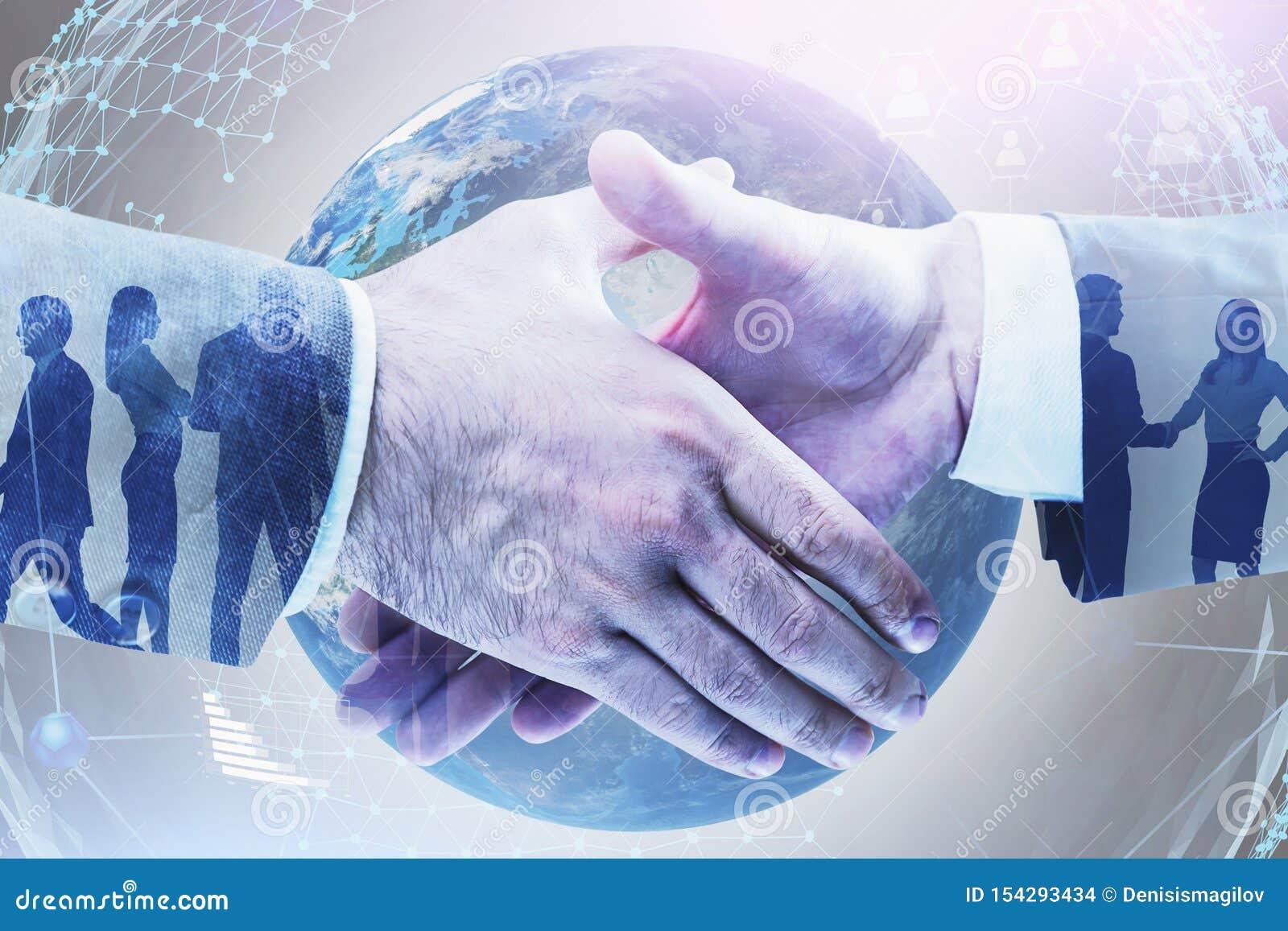 Aperto de mão dos homens de negócios, rede social global