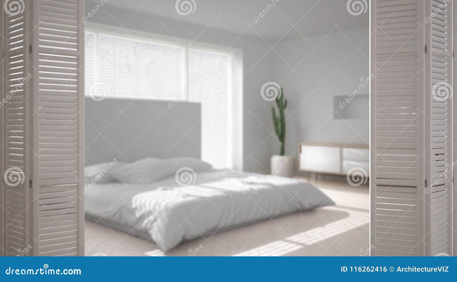Camere Da Letto Design Minimalista : Apertura bianca sulla camera da letto minimalista scandinava