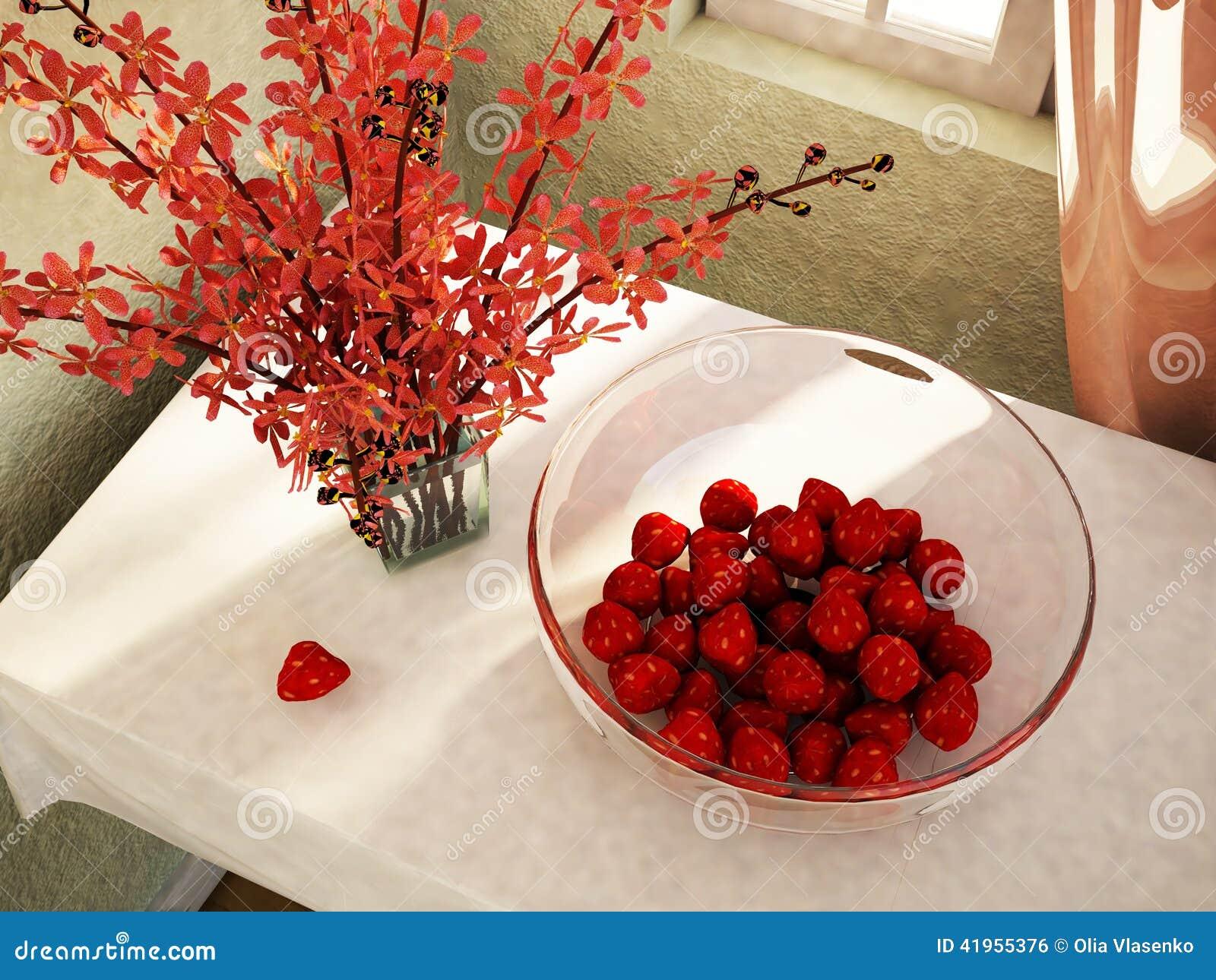 Apetyczne truskawki na stole w talerzu
