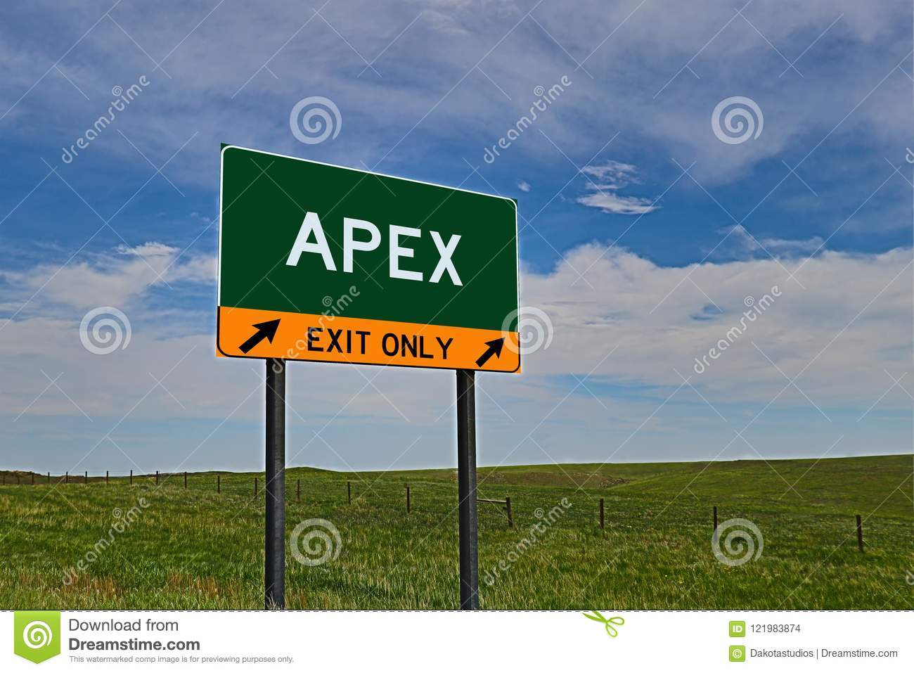 US Highway Exit Sign for Apex
