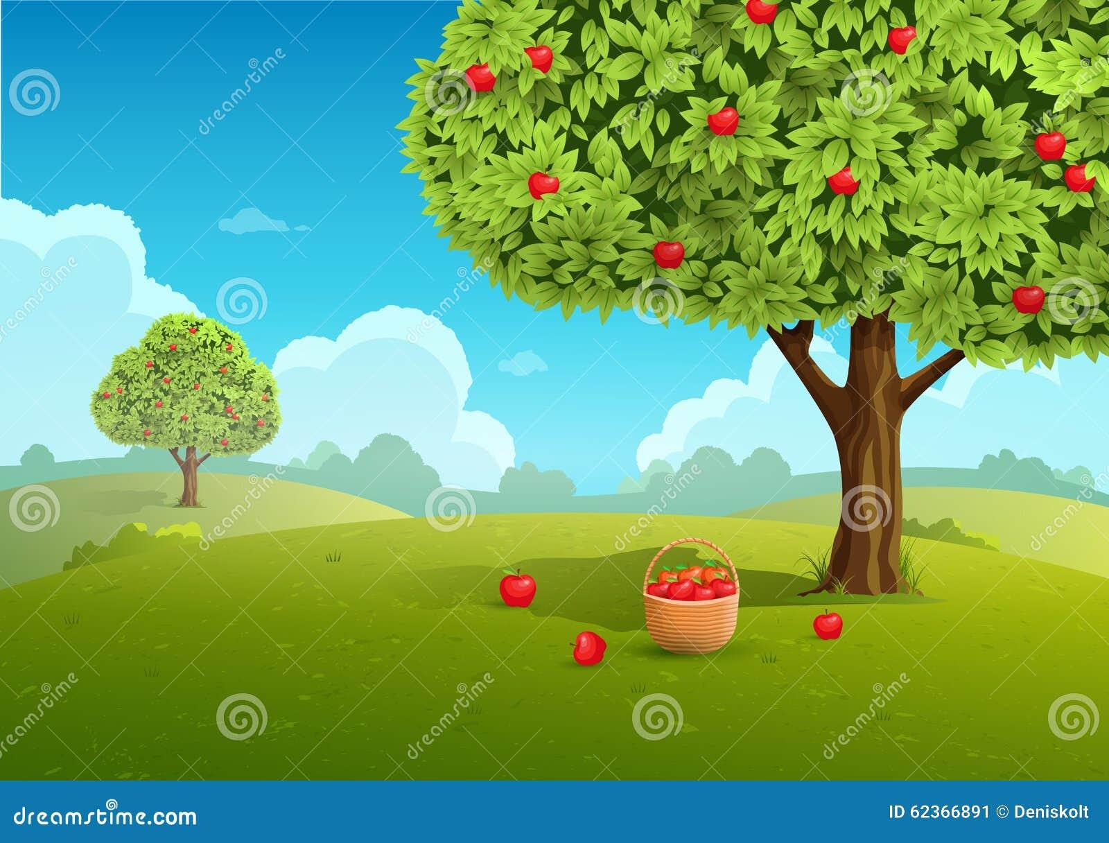 Apfelgartenillustration
