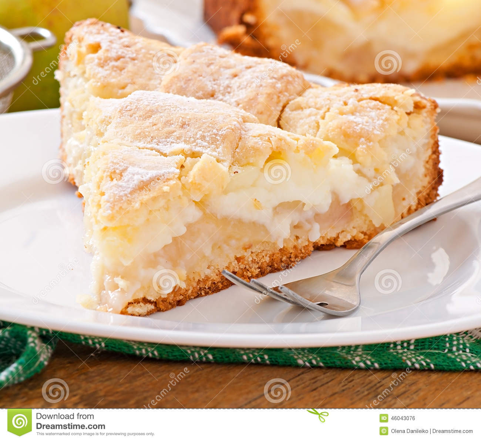 Apfelkuchen Mit Vanillepudding Stockfoto Bild Von Apfel