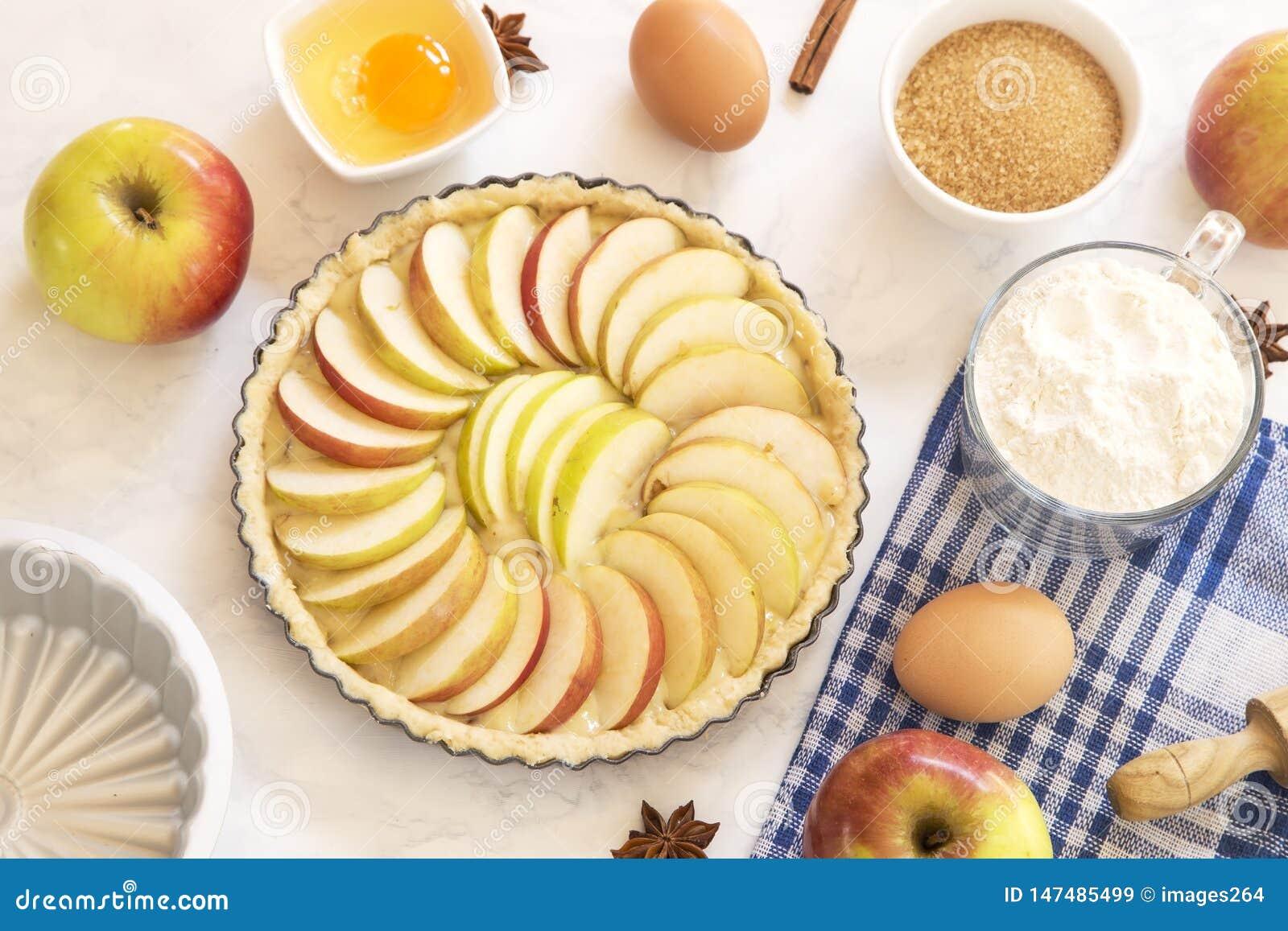 Apfelkuchenvorbereitung
