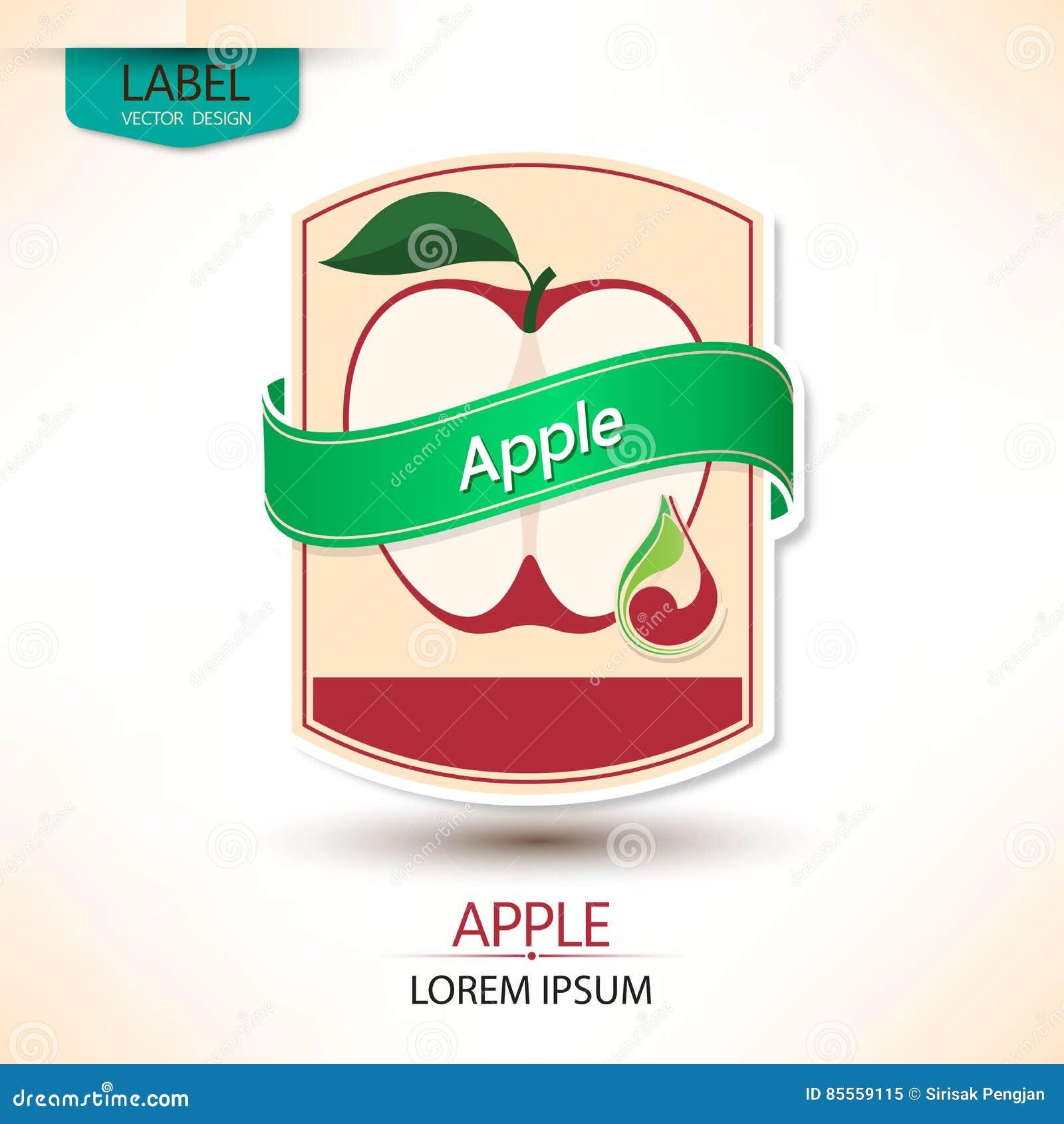 Apfelsaft-Aufkleberdesign