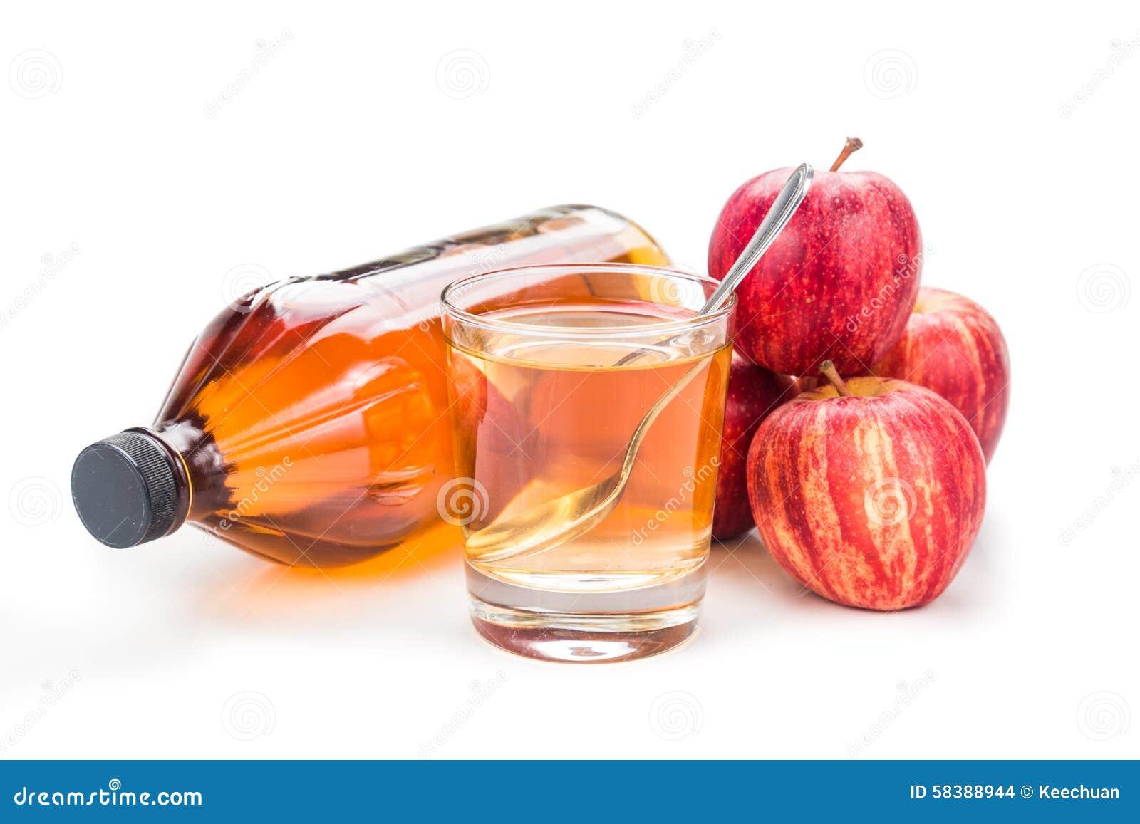 Apfelweinessig im Glas-, Glas- und frischemapfel, gesundes Getränk