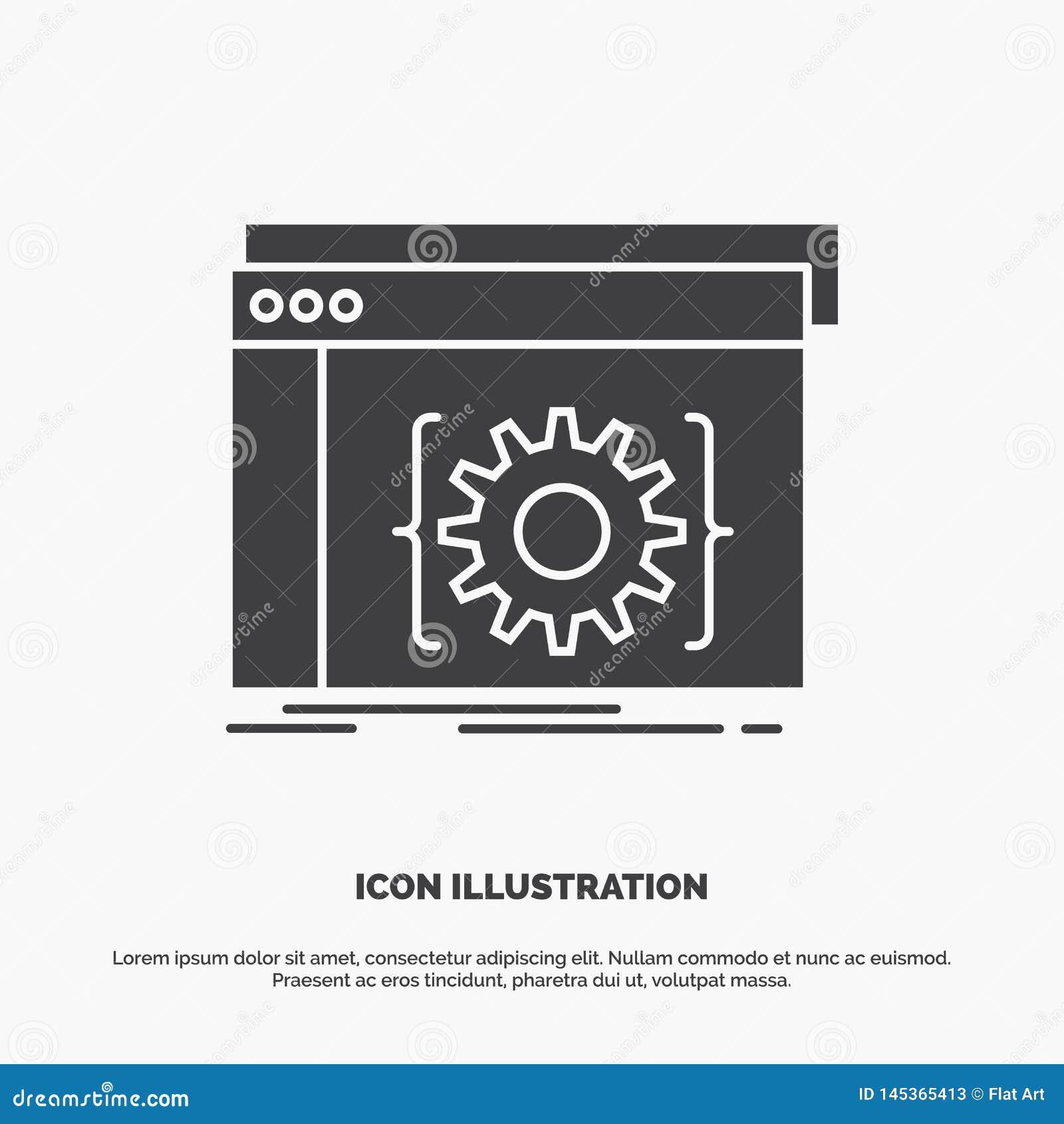 Api, app, codage, ontwikkelaar, softwarepictogram glyph vector grijs symbool voor UI en UX, website of mobiele toepassing