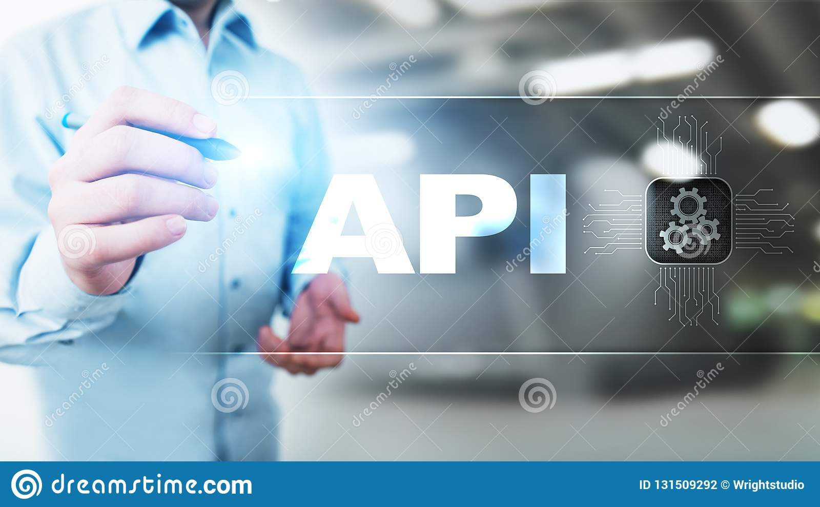 API - Application Programming Interface, software development tool, information technology and business concept.