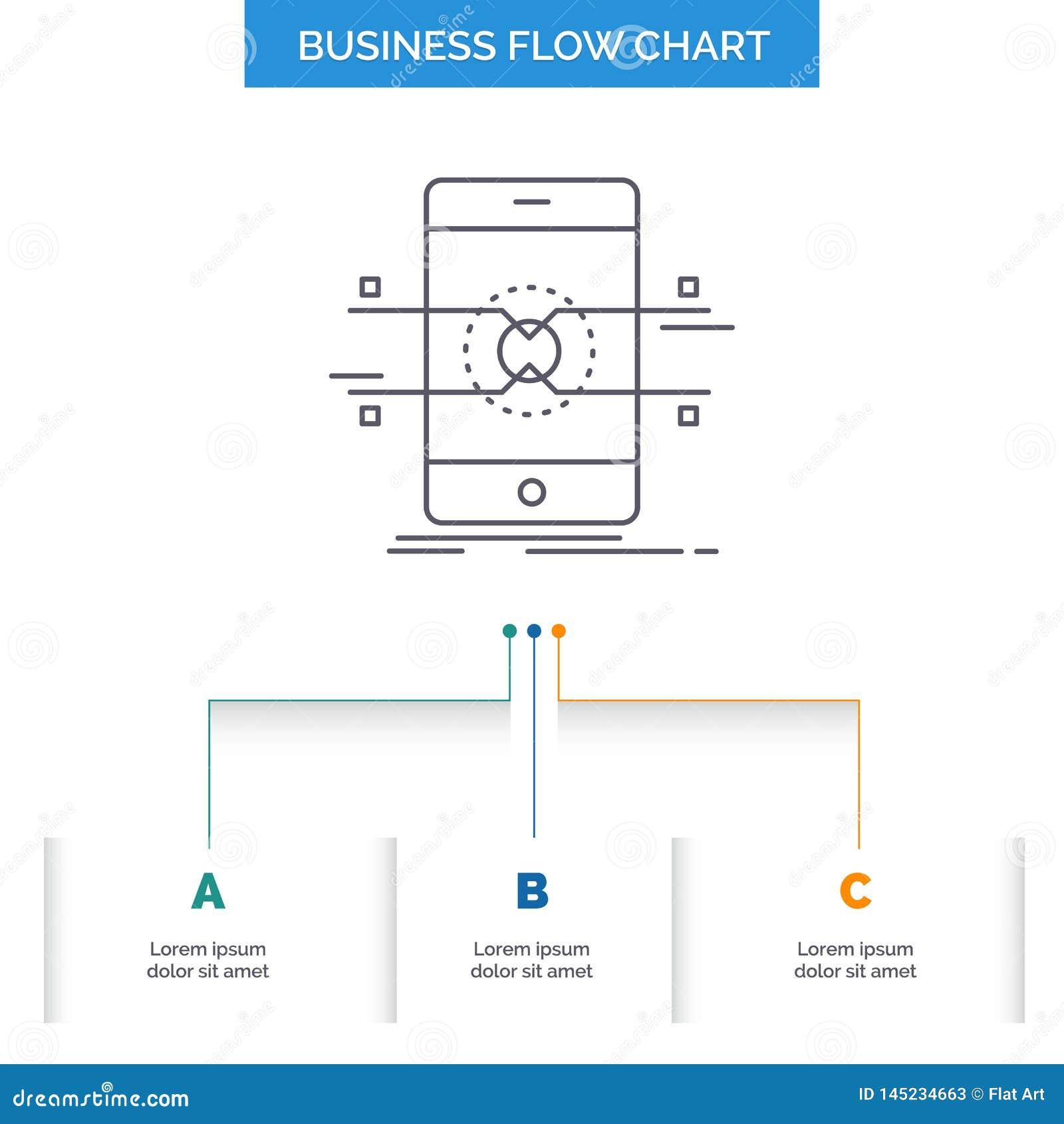 Api, interfejs, wisząca ozdoba, telefon, smartphone Spływowej mapy Biznesowy projekt z 3 krokami Kreskowa ikona Dla prezentacji t