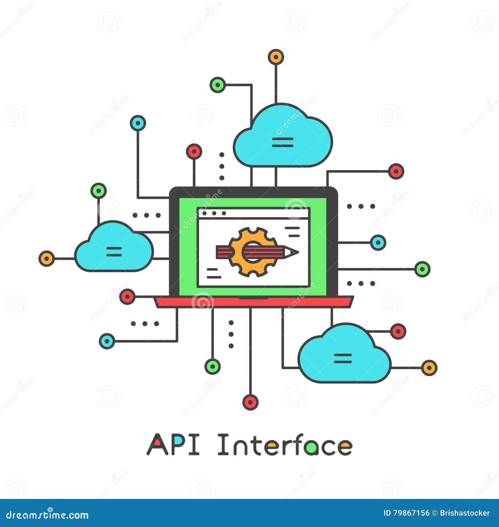 API interfejsu ikony stylu Wektorowa ilustracja