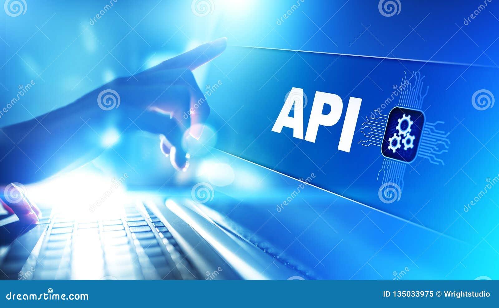API - Podaniowego programowania interfejs, rozwój oprogramowania narzędzie, technologie informacyjne i biznesu pojęcie,