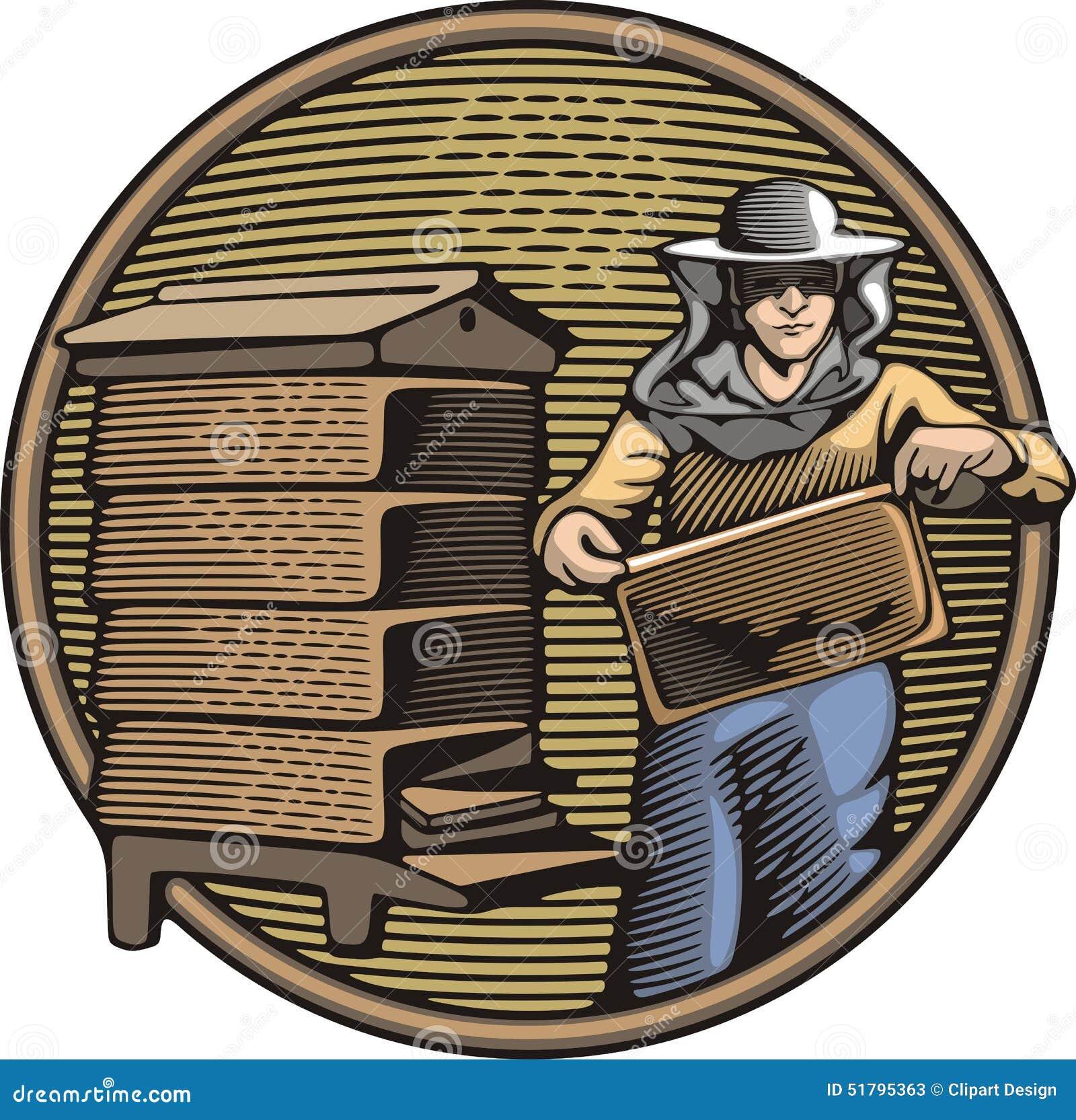 Apicoltore Vector Illustration nello stile dell intaglio in legno