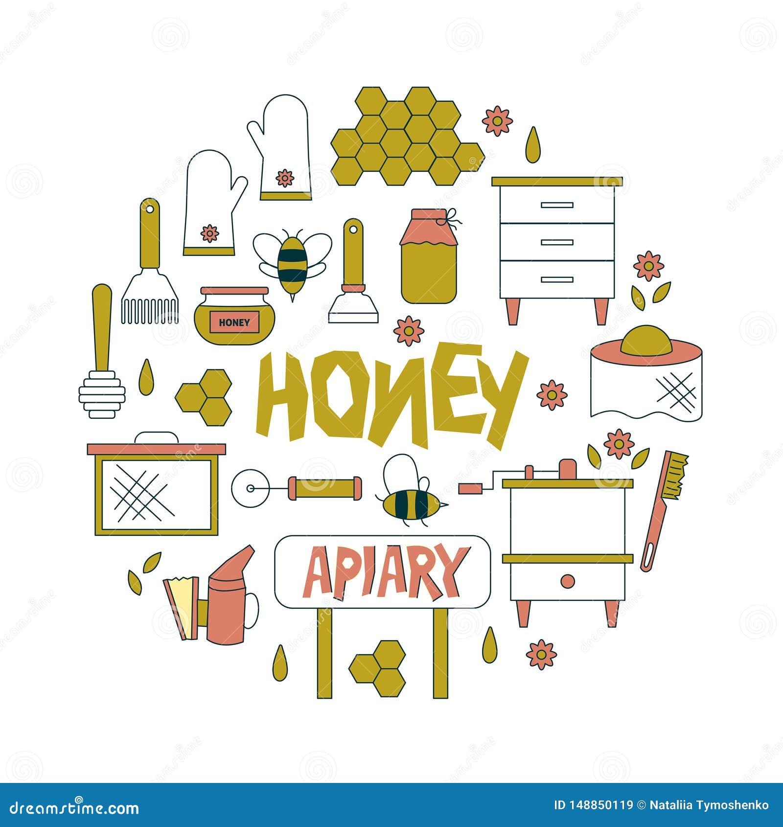 Apicultura, iconos de la apicultura El equipo del apicultor, miel que procesa, abeja, colmenas mecanograf?a, los productos natura