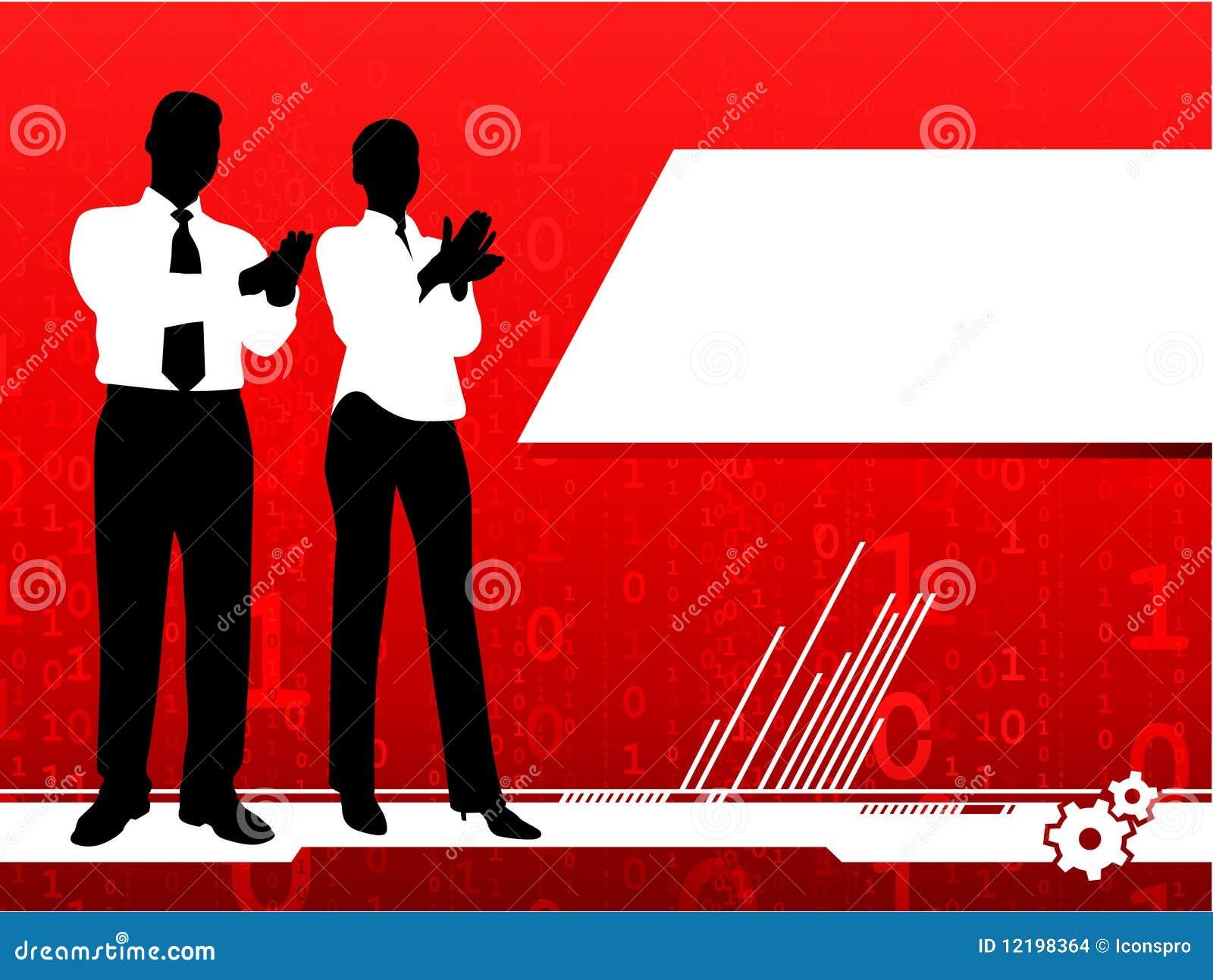 Aplauso do homem de negócios e da mulher de negócios