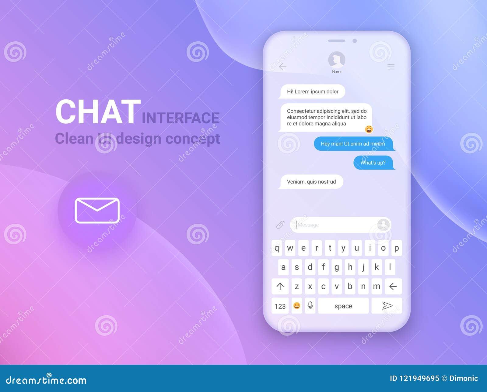 Aplicação da relação do bate-papo com janela do diálogo Limpe o conceito de projeto móvel de UI Mensageiro de Sms Ícones lisos da