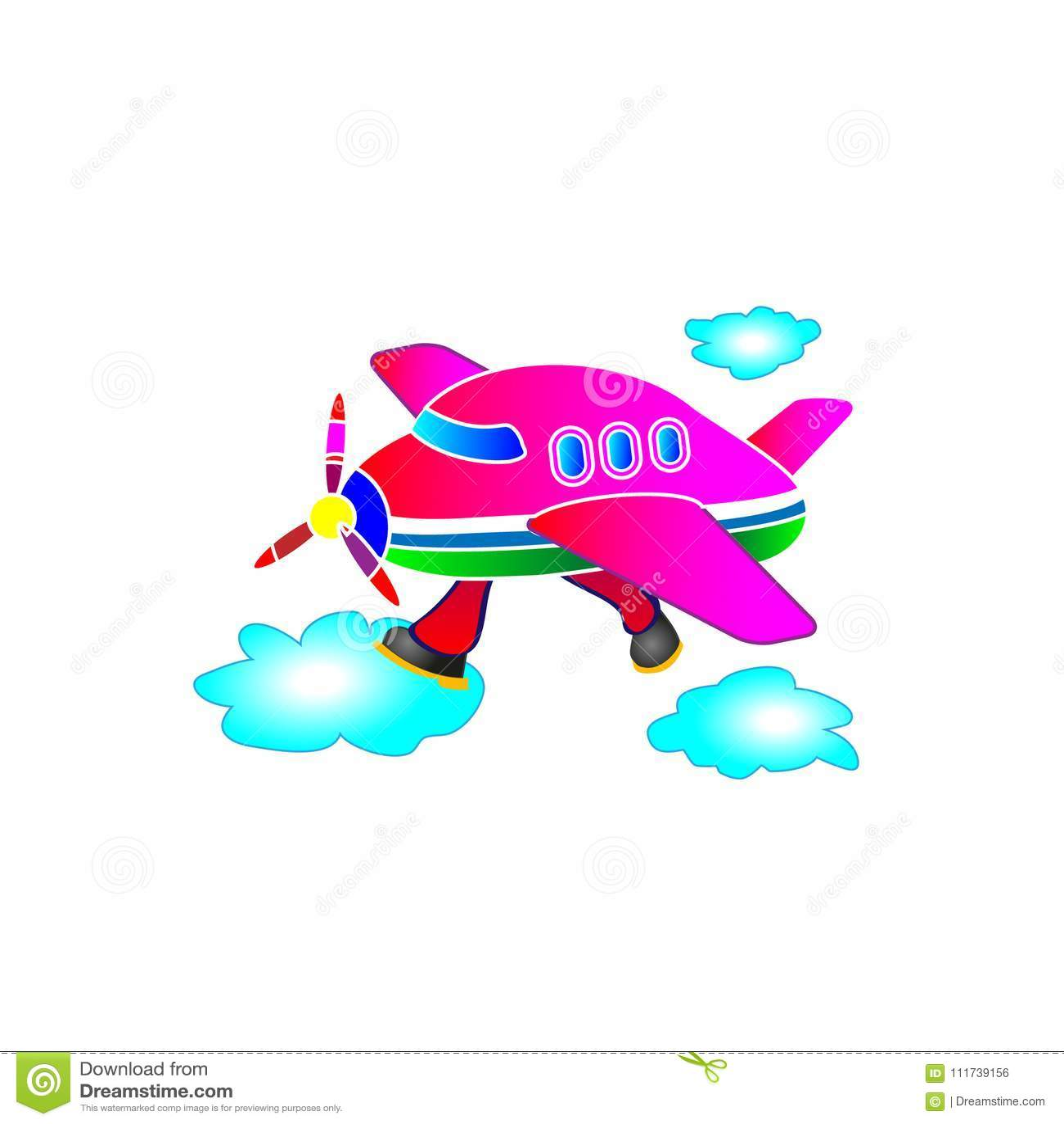 A aplicação das crianças, ilustração o plano cor-de-rosa Pés running por nuvens Vetor