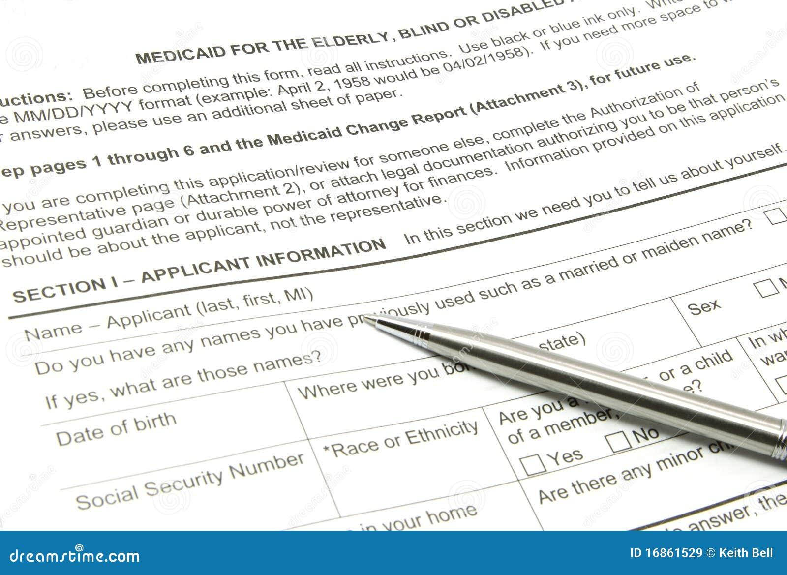 Aplicação de Medicaid e pena da prata