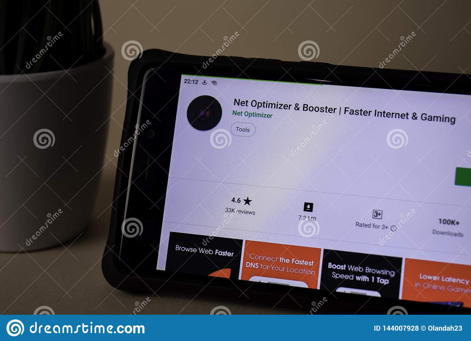 Aplicação do colaborador líquido do Optimizer & do impulsionador na tela de Smartphone Internet mais rápido &