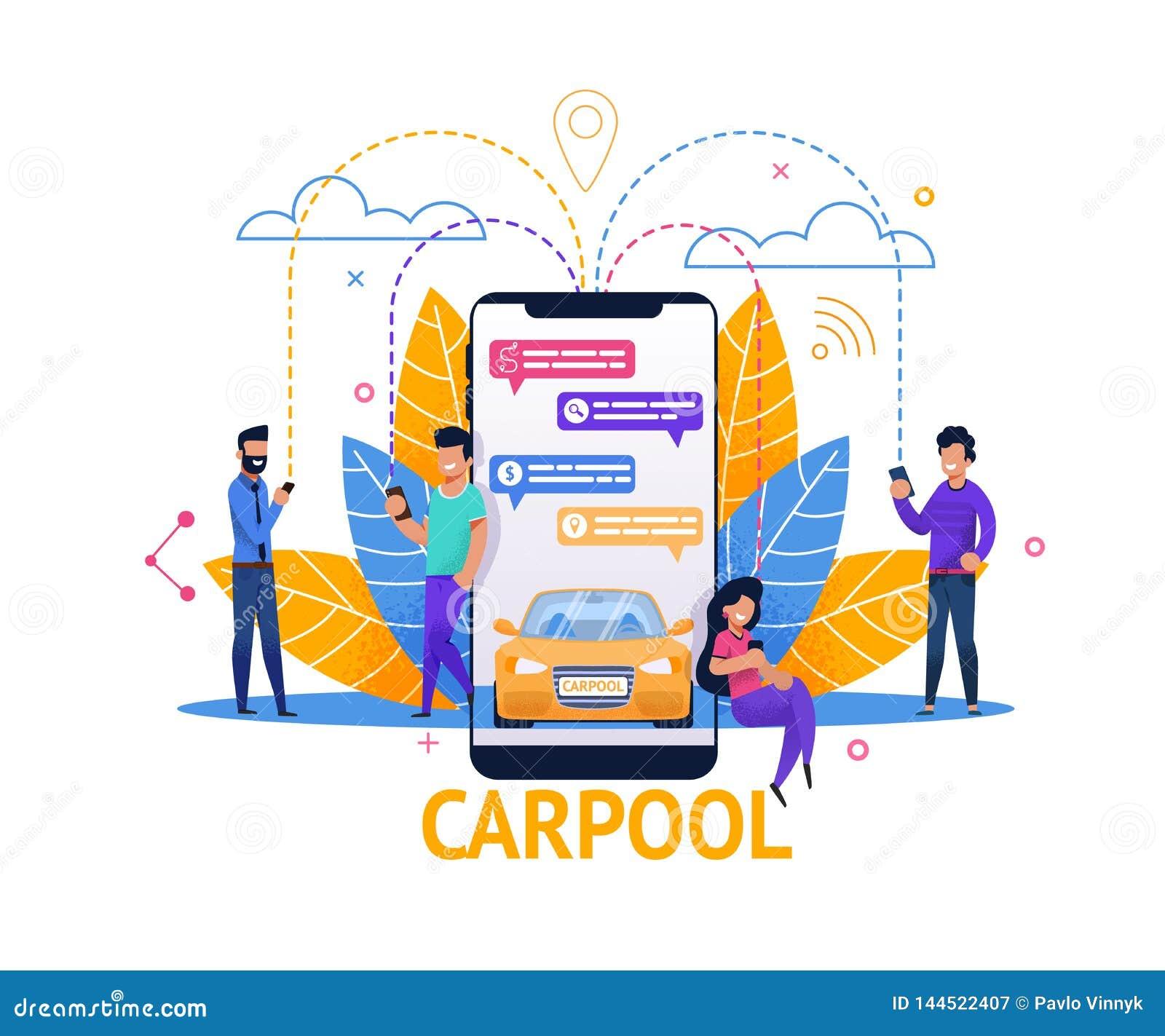 Aplicação móvel do Carpool Planeamento do passeio no bate-papo