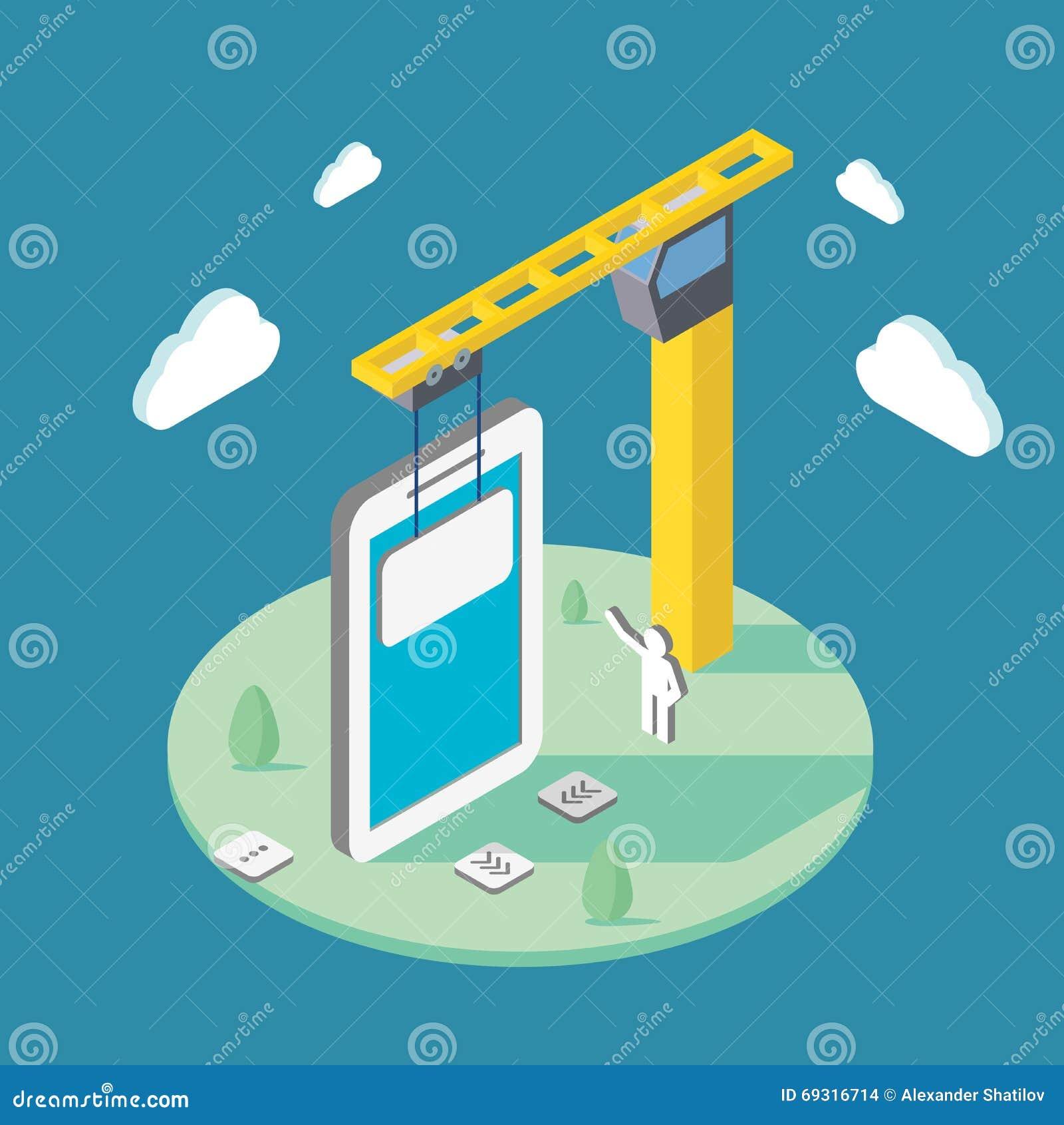Aplicações móveis de construção usando um guindaste Ilustração isométrica