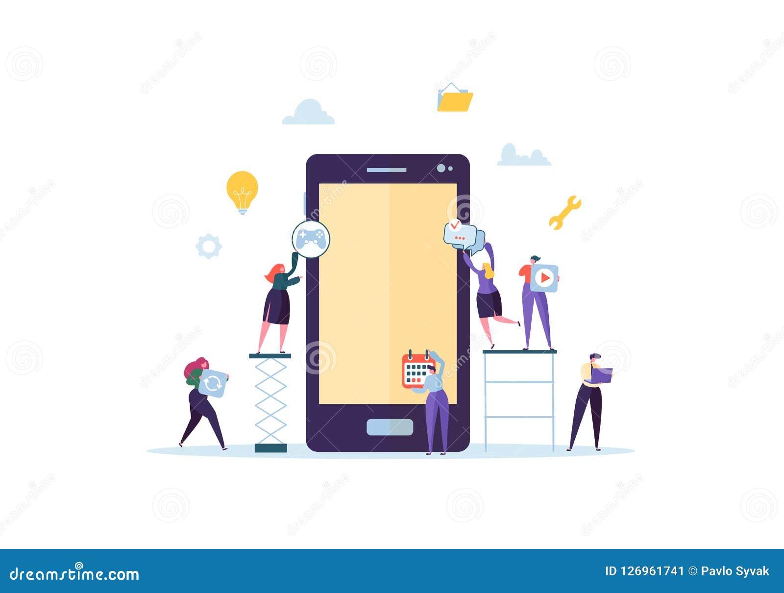 Aplicación móvil plana del edificio de caracteres de la gente con los iconos en la pantalla de Smartphone Concepto del desarrollo