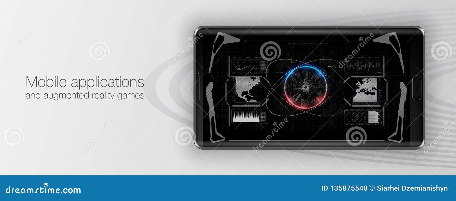 Aplicaciones móviles y juegos aumentados de la realidad Presentación de una aplicación móvil o de un juego
