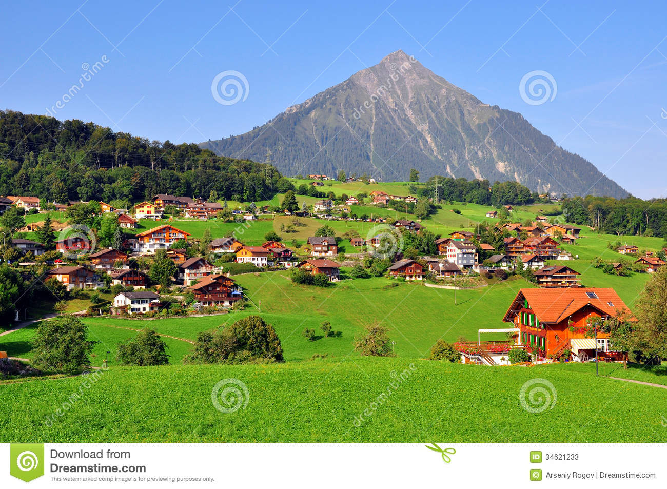 Apline Village Stock Image Of Green Country
