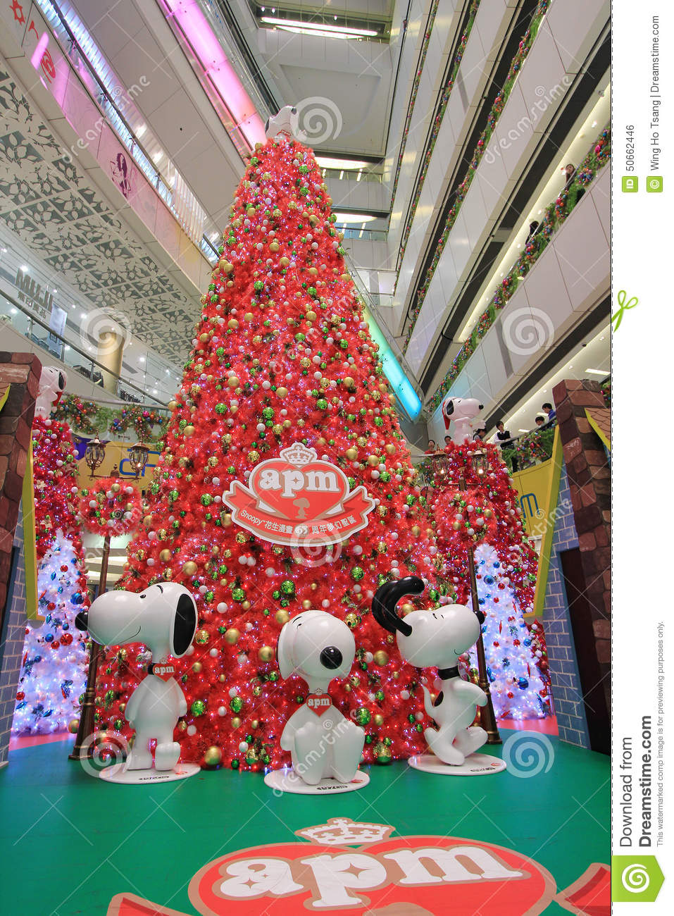 APM Snoopy Christmas Decoration In Hong Kong Editorial