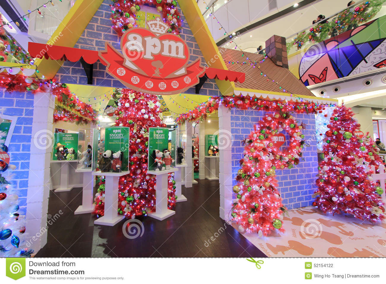 apm snoopy christmas decoration in hong kong editorial photography