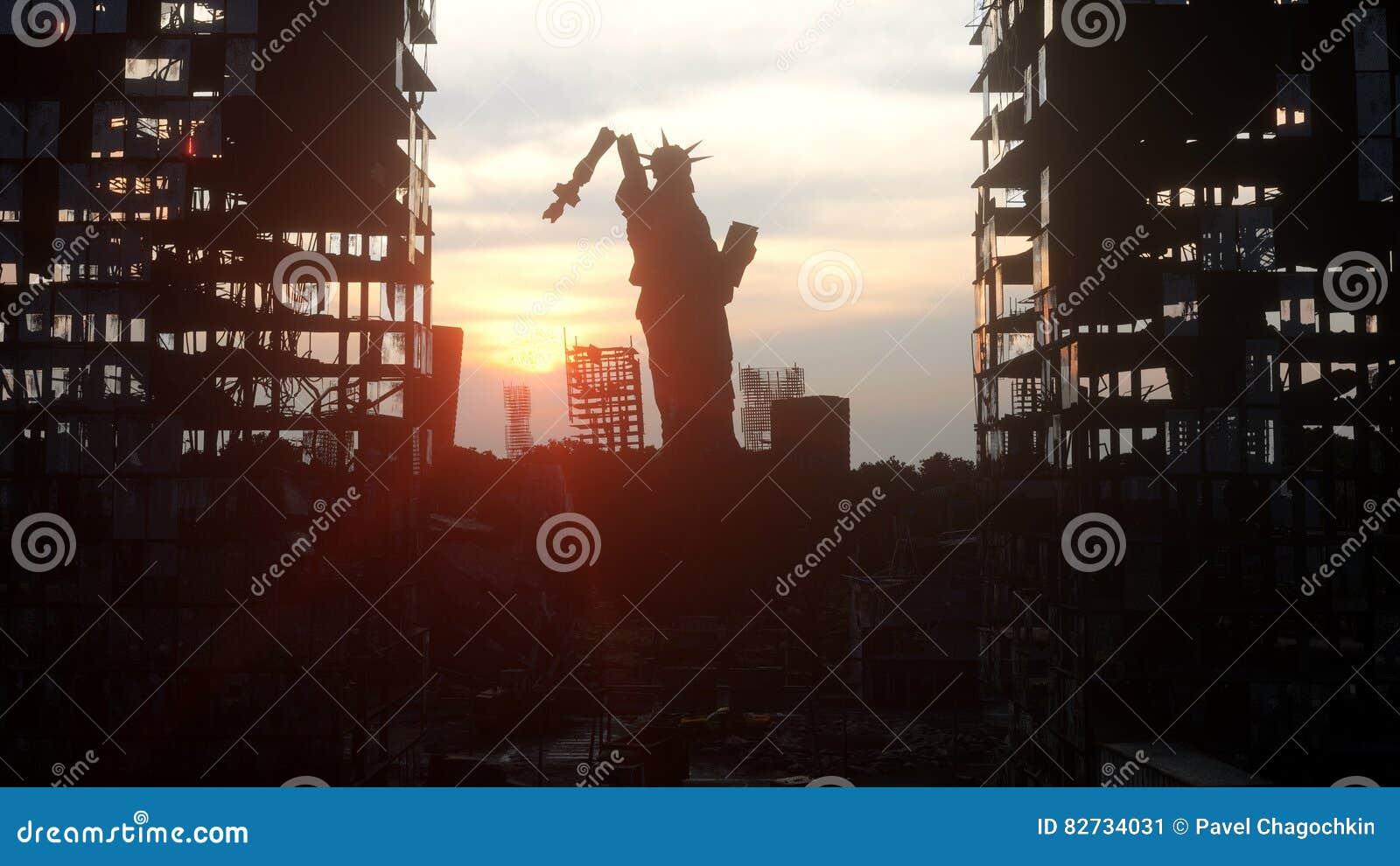 Apocalypse des Etats-Unis, Amérique New York City détruit par vue, statue de la liberté Concept d apocalypse rendu 3d