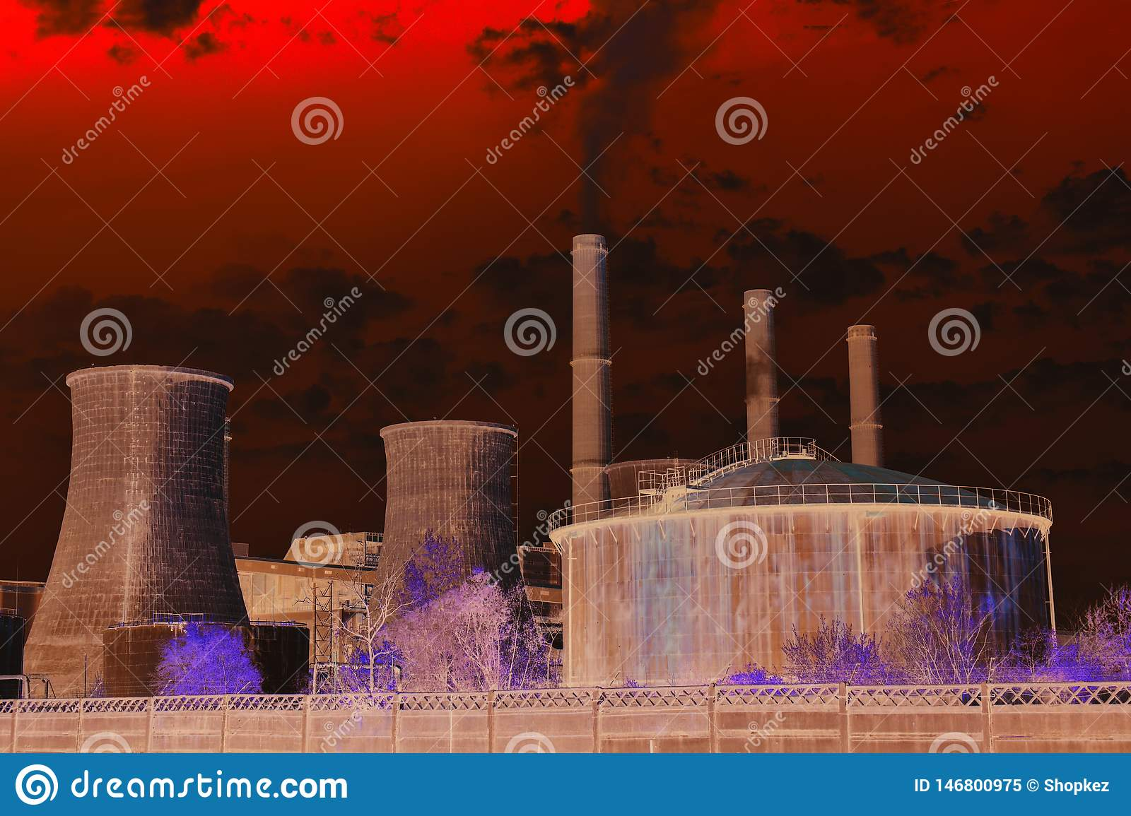 Apocalyptical view of the chemical plant. Pollution concept