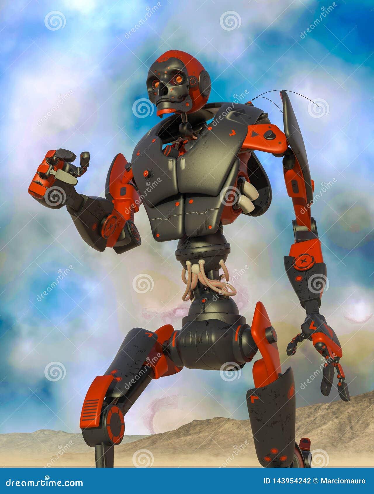 Apocalyptisch robotbeeldverhaal op woestijn alleen op blauwe woestijn