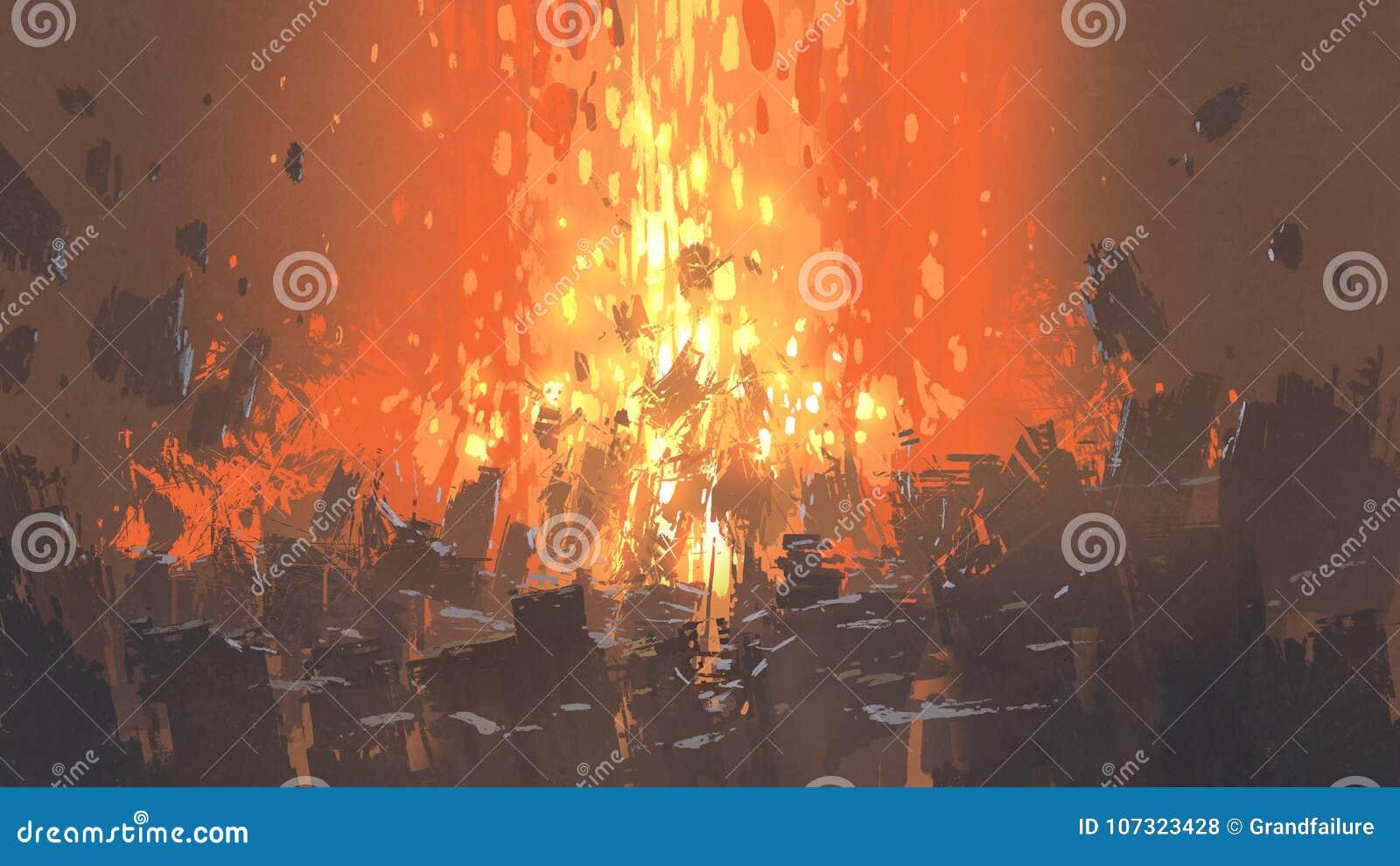 Apocalyptische explosie met velen fragment van gebouwen