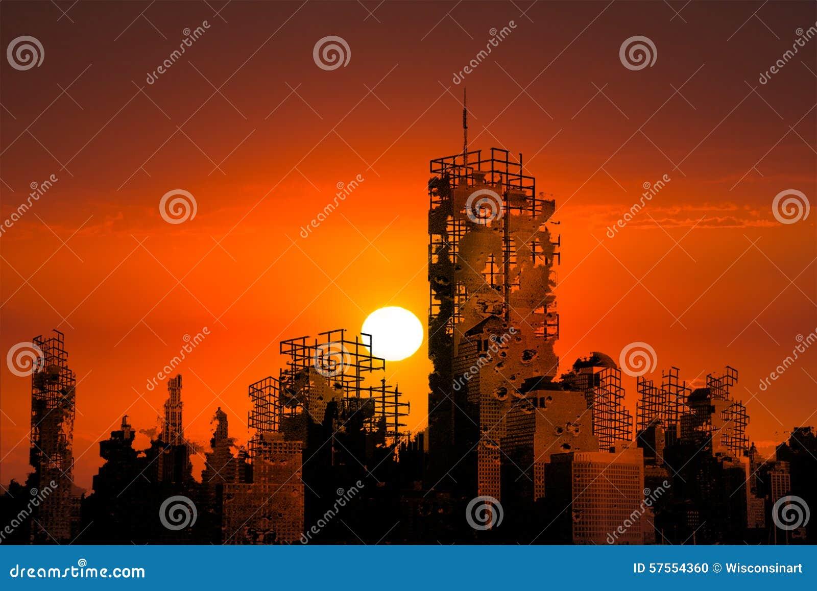 Apokalipsy miasto Rujnuje zmierzchu tło