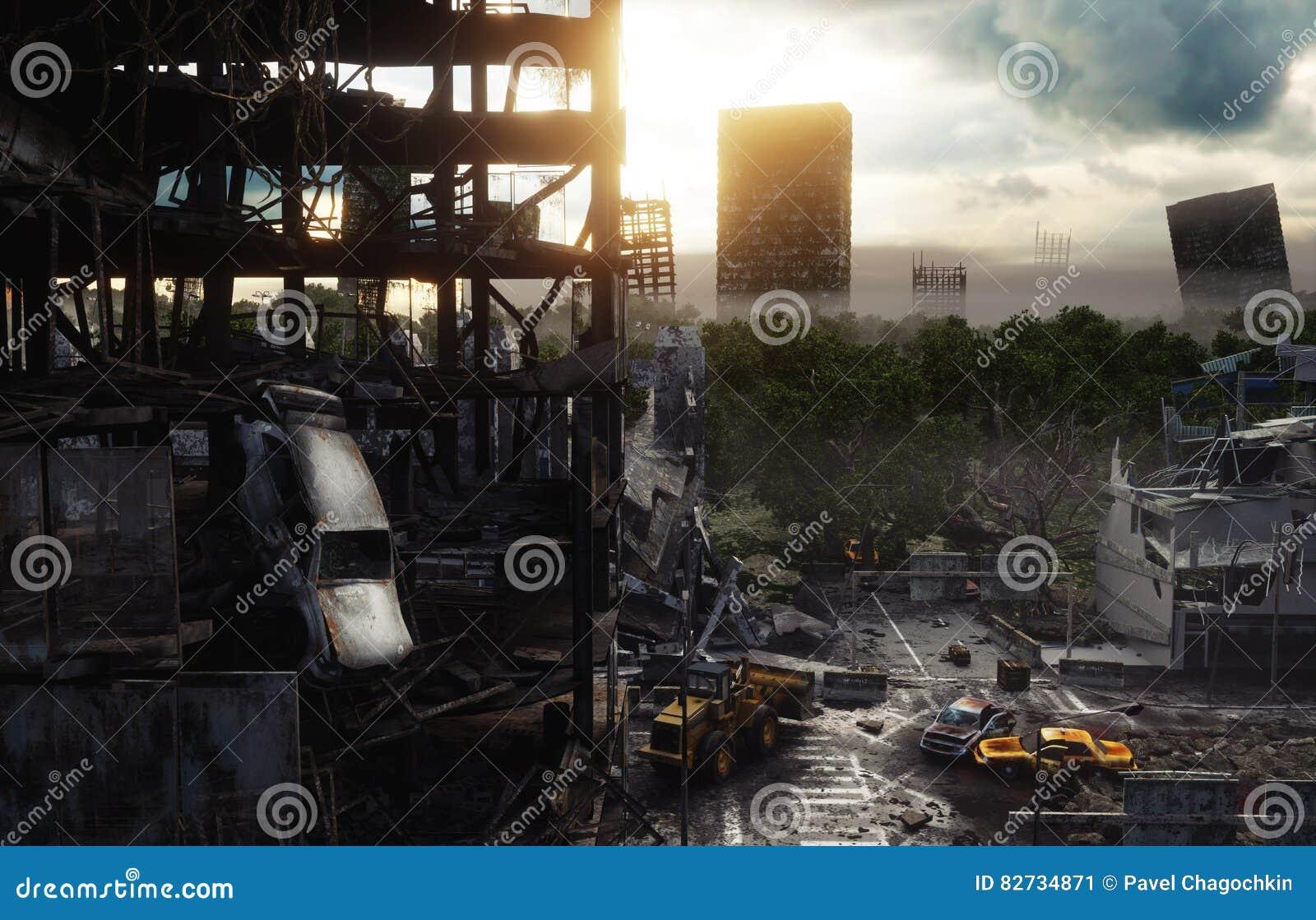 Apokalipsy miasto w mgle Widok Z Lotu Ptaka zniszczony miasto Apokalipsy pojęcie świadczenia 3 d